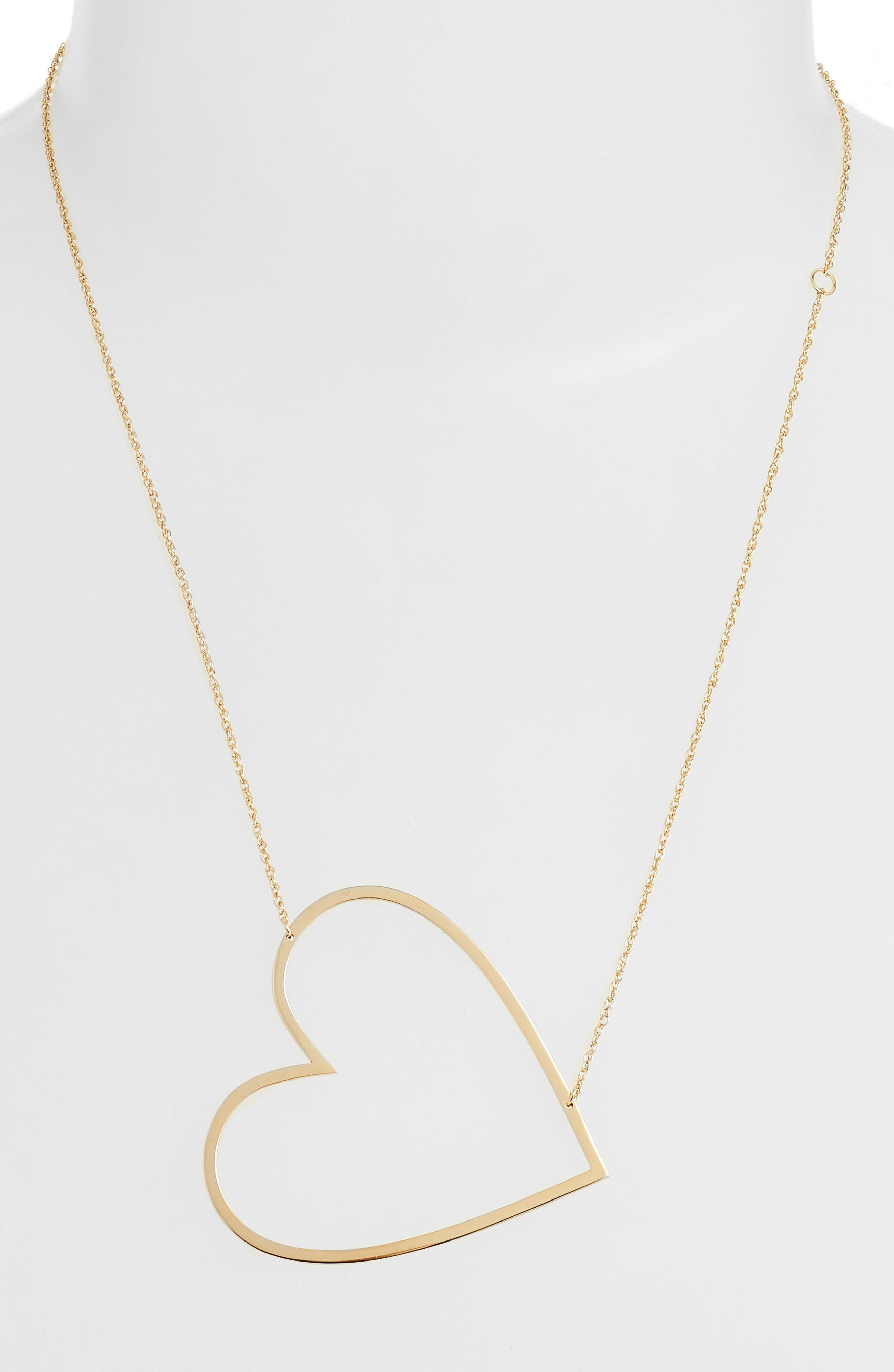 JENNIFER ZEUNER, Marissa Heart Pendant Necklace, Alternate thumbnail 2, color, YELLOW VERMEIL
