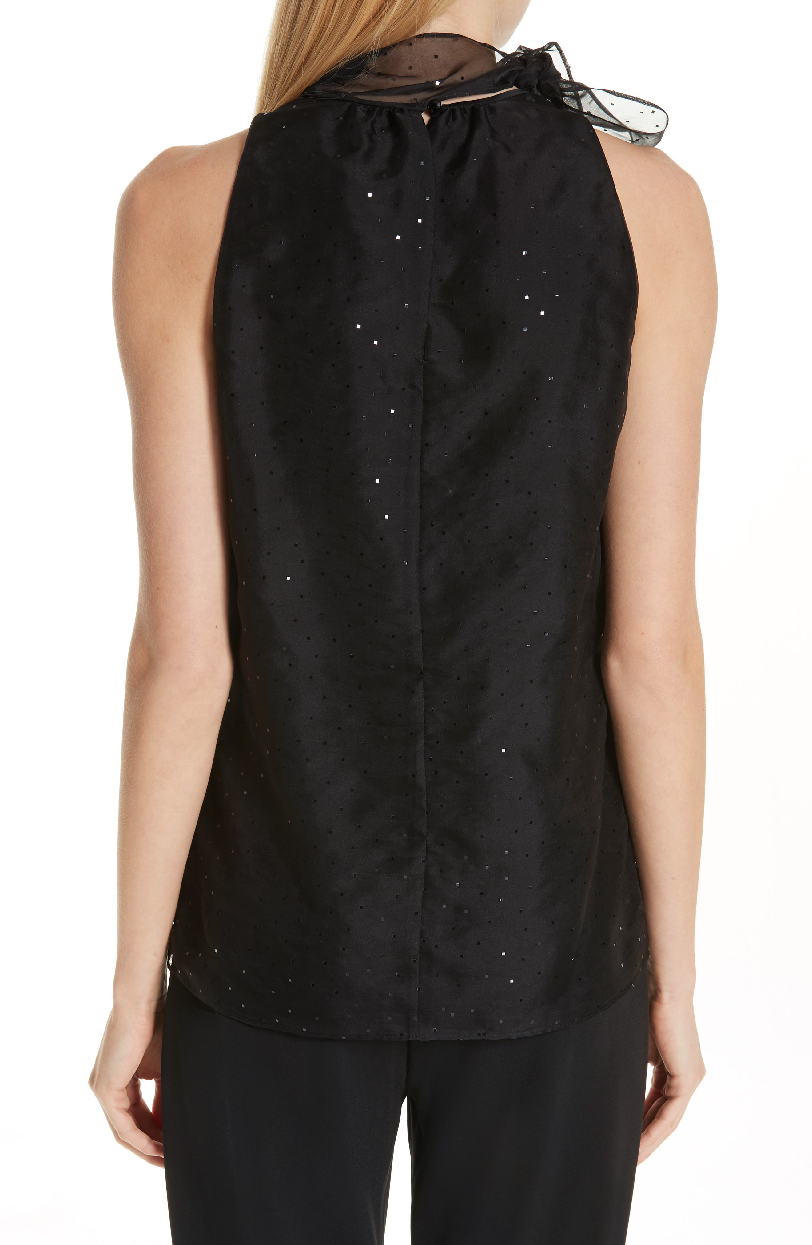 ST. JOHN COLLECTION, Sequin Silk Organza Tank, Alternate thumbnail 2, color, CAVIAR