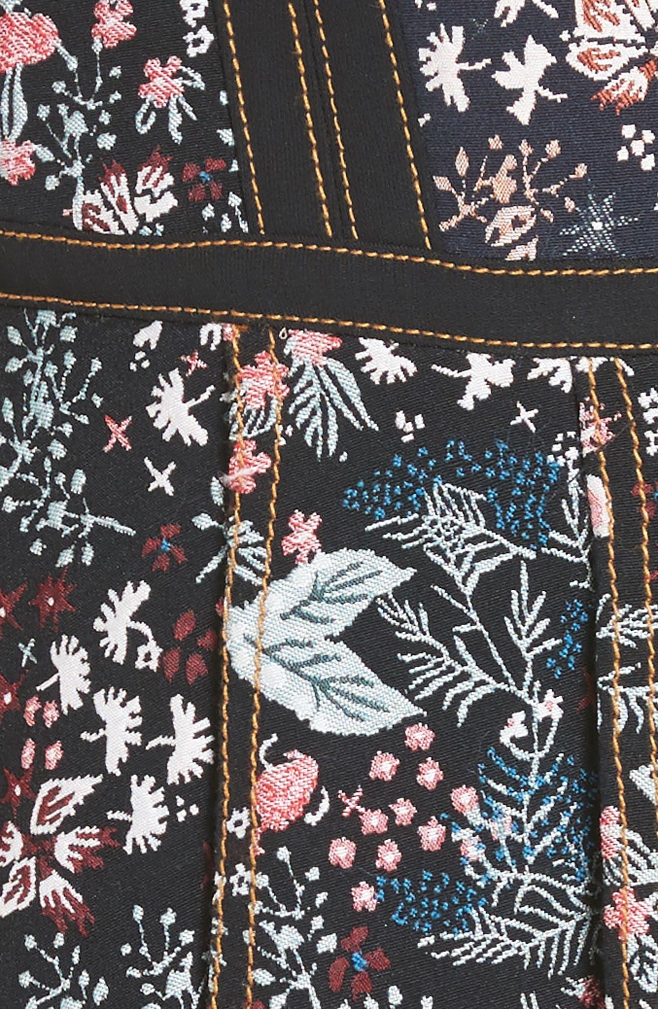 SELF-PORTRAIT, Floral Jacquard Minidress, Alternate thumbnail 5, color, 960