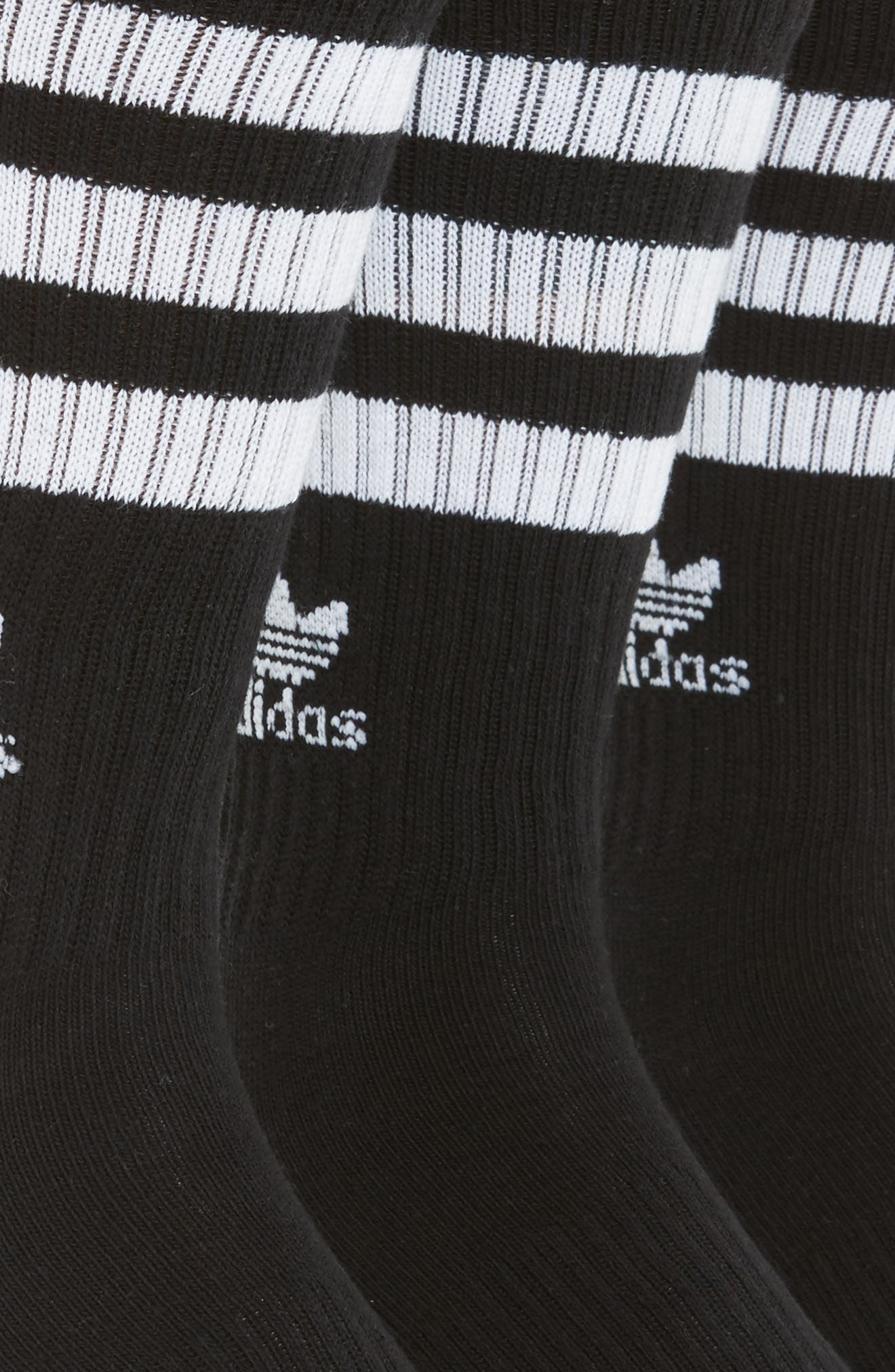 ADIDAS ORIGINALS, 3-Pack Original Roller Crew Socks, Alternate thumbnail 2, color, BLACK/ WHITE
