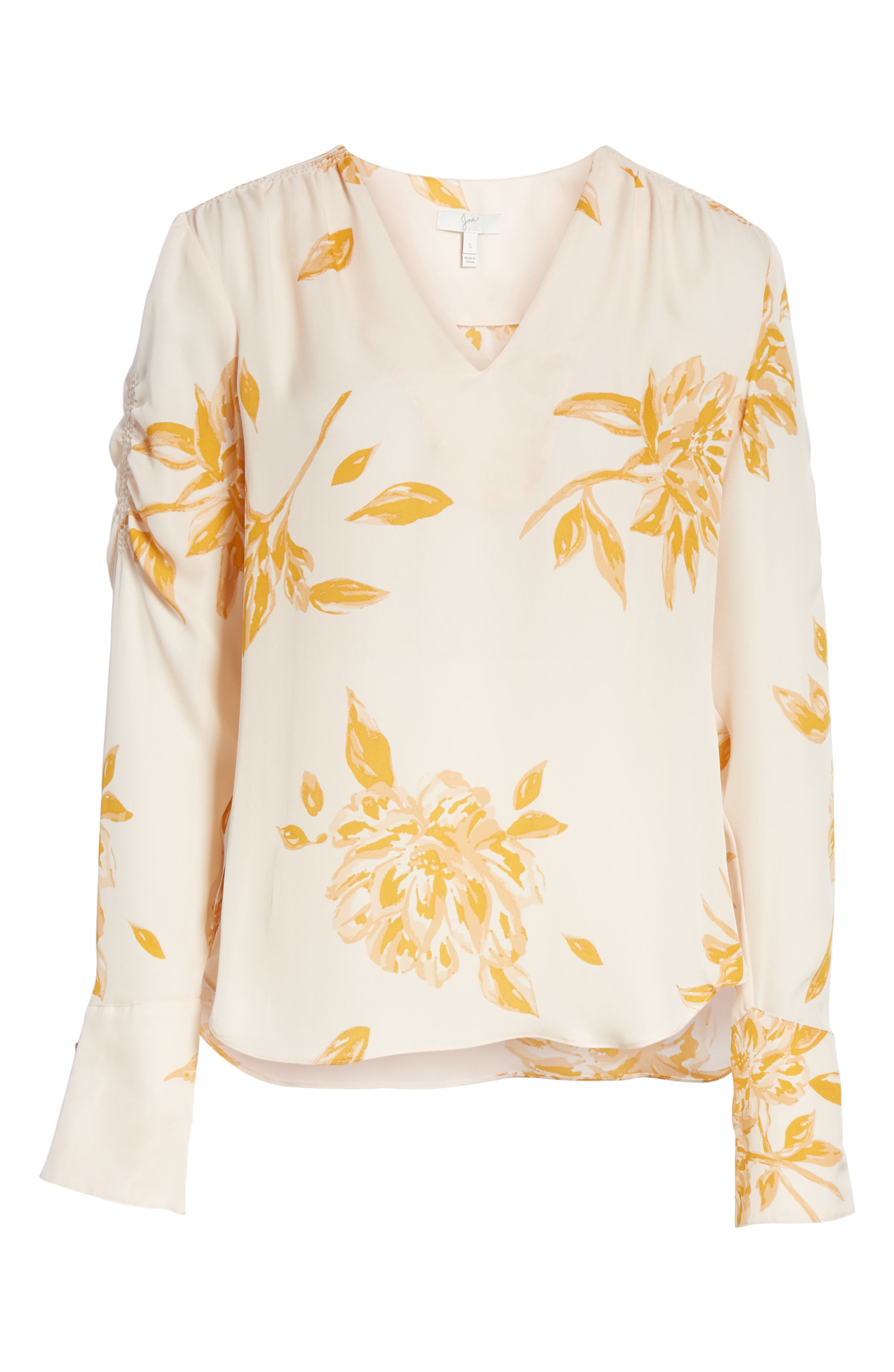JOIE, Galvin Floral Silk Top, Alternate thumbnail 6, color, SHIMMER