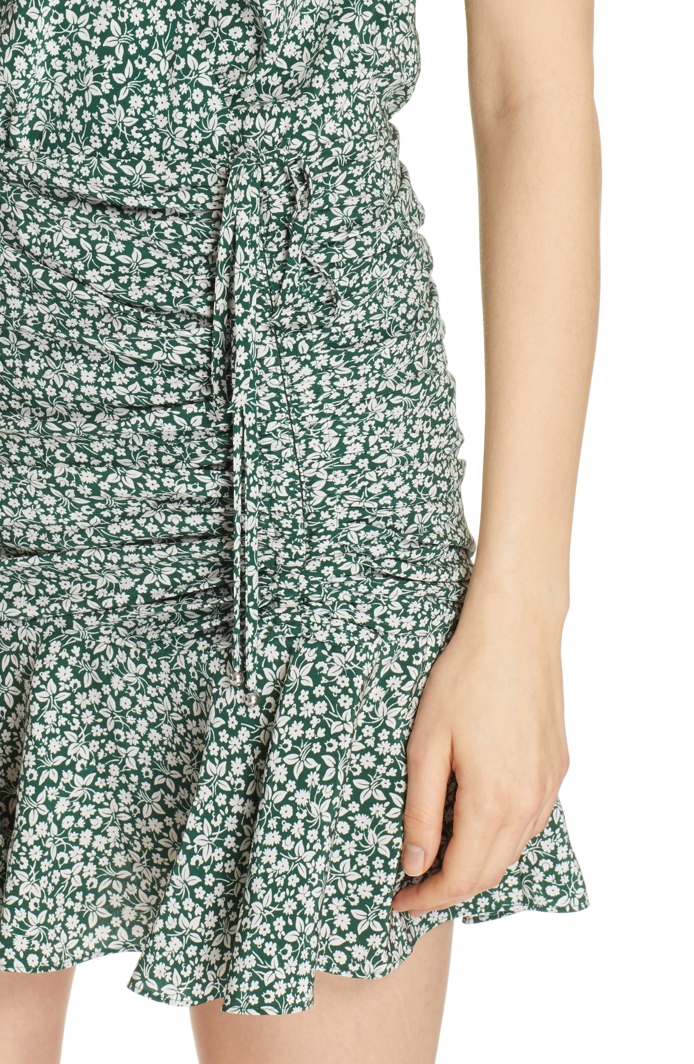 VERONICA BEARD, Marla Tie Ruched Silk Minidress, Alternate thumbnail 5, color, FOREST GREEN