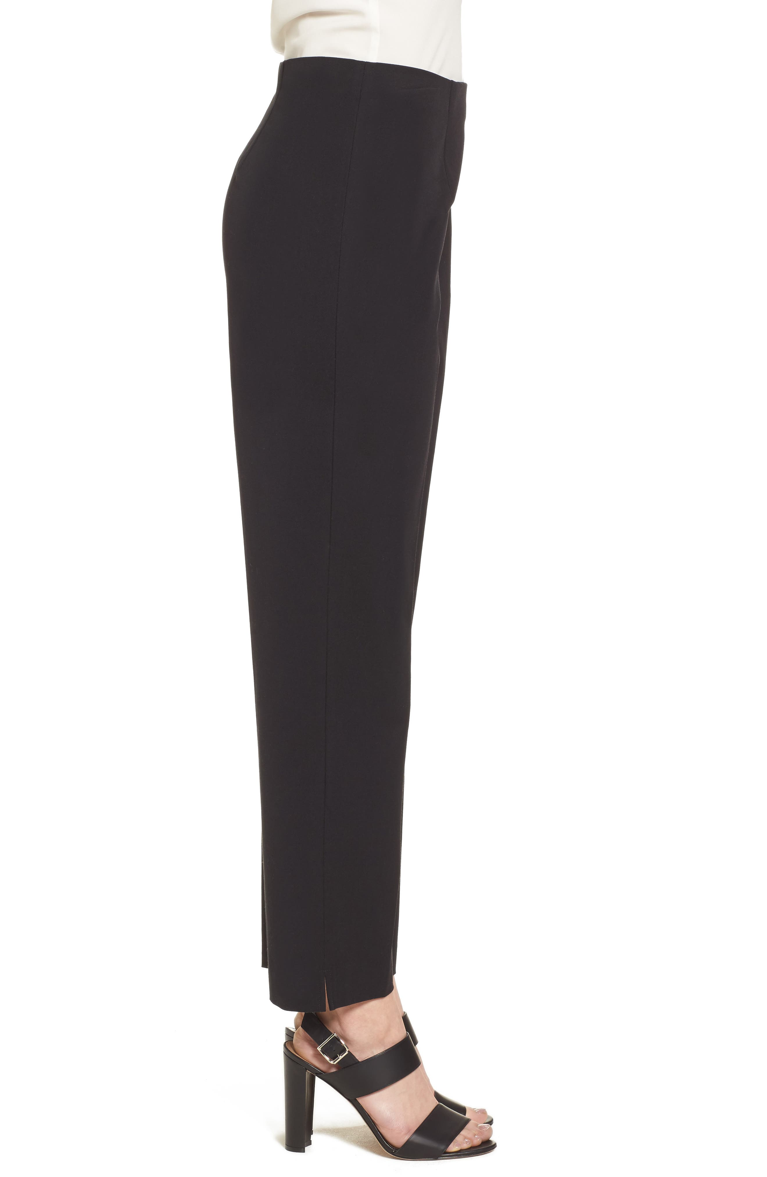 MING WANG, Woven Slim Ankle Pants, Alternate thumbnail 3, color, BLACK