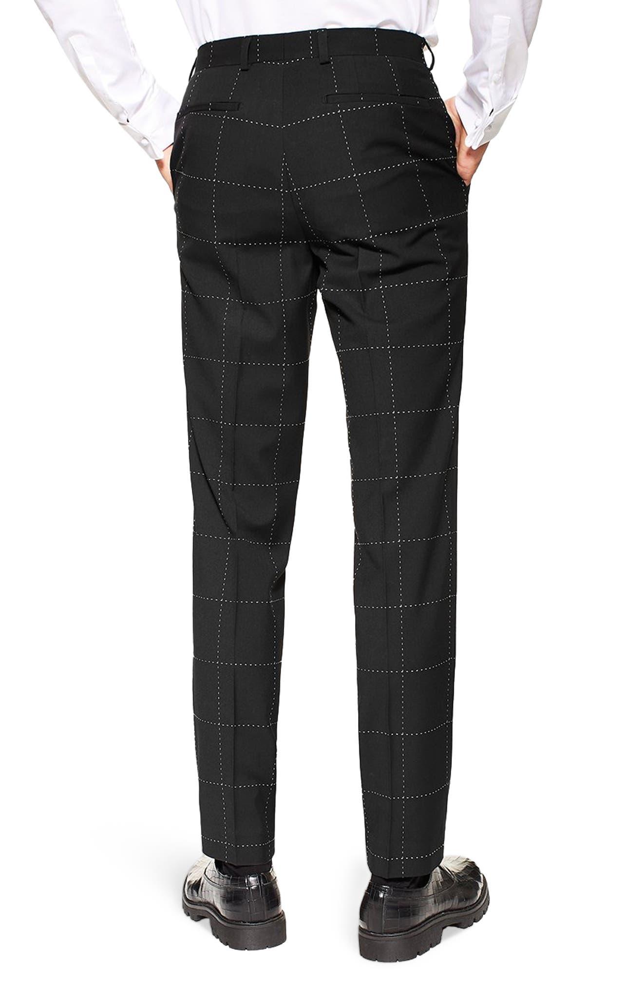 TOPMAN, Slim Fit Topstitched Suit Trousers, Alternate thumbnail 2, color, BLACK MULTI