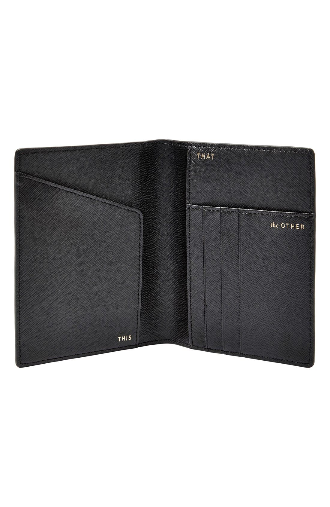 FOSSIL, 'RFID' Pebbled Leather Passport Case, Alternate thumbnail 2, color, 001
