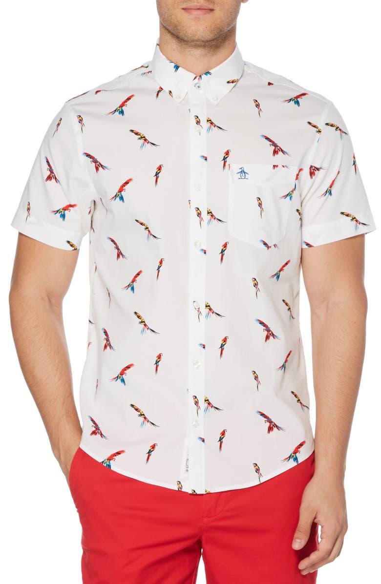 Original Penguin T-shirts PARROT PRINT SLIM FIT WOVEN SHIRT