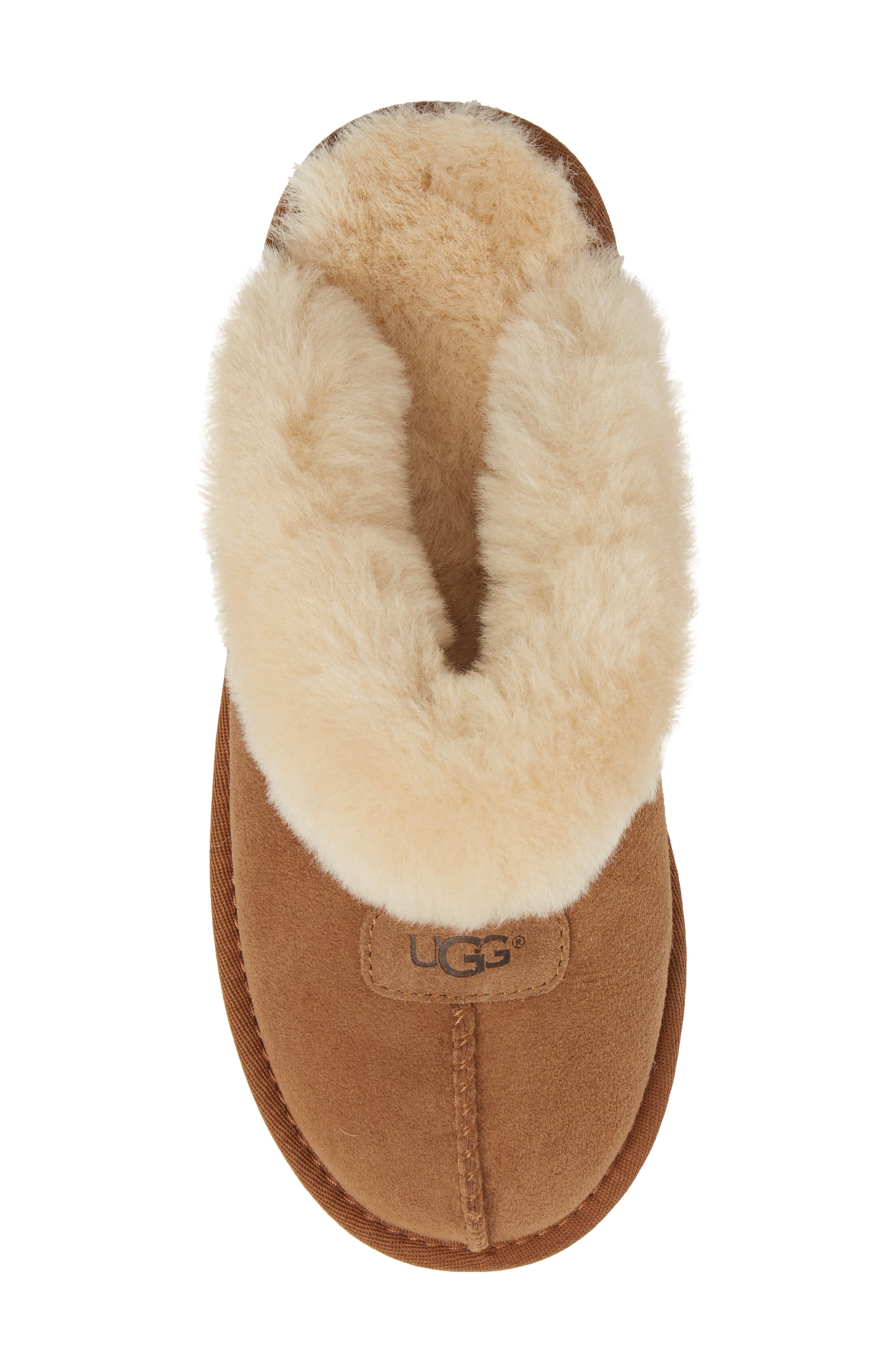 UGG<SUP>®</SUP>, Genuine Shearling Slipper, Alternate thumbnail 5, color, CHESTNUT