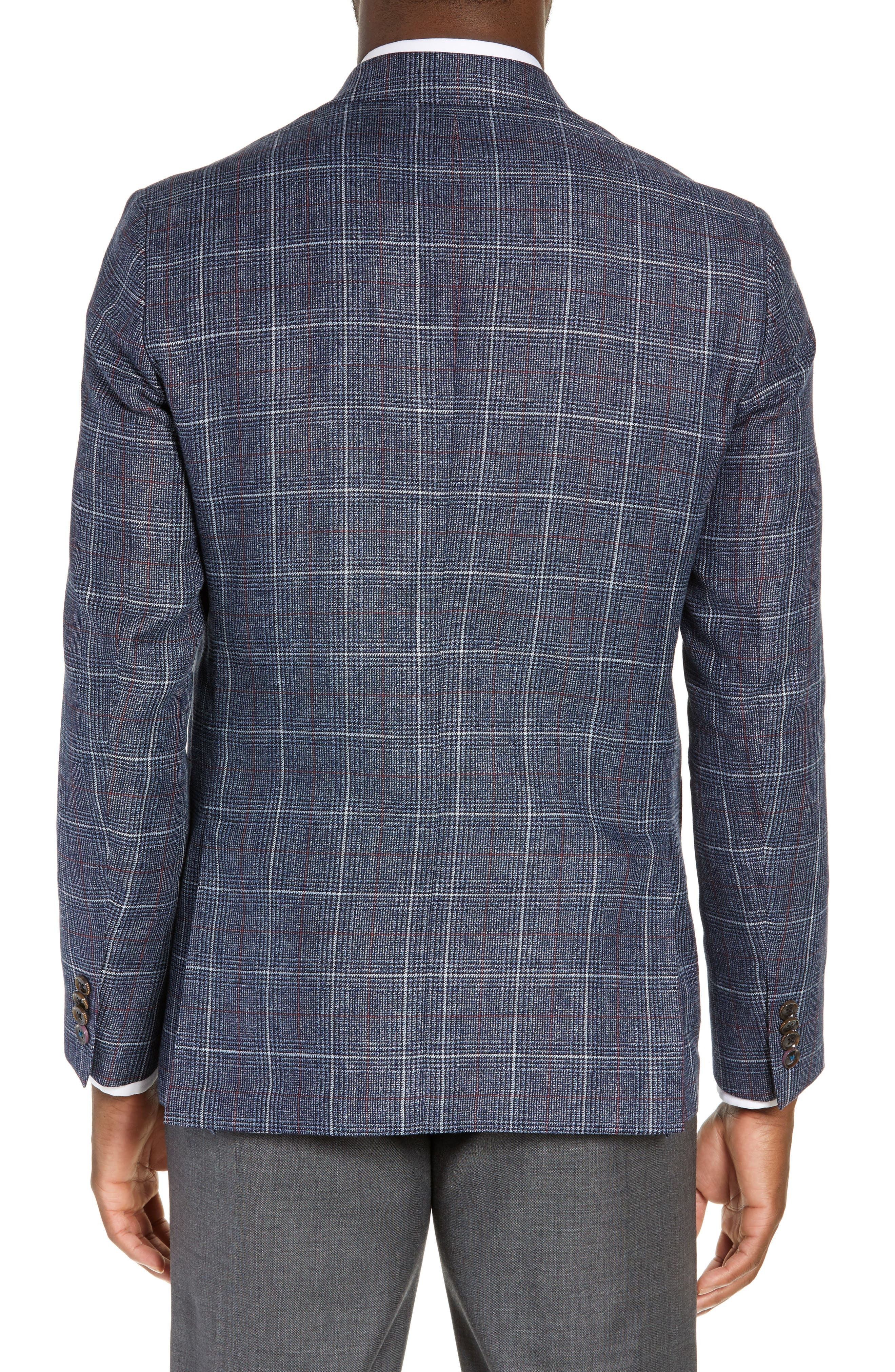 TED BAKER LONDON, Kyle Trim Fit Plaid Linen Blend Sport Coat, Alternate thumbnail 2, color, BLUE