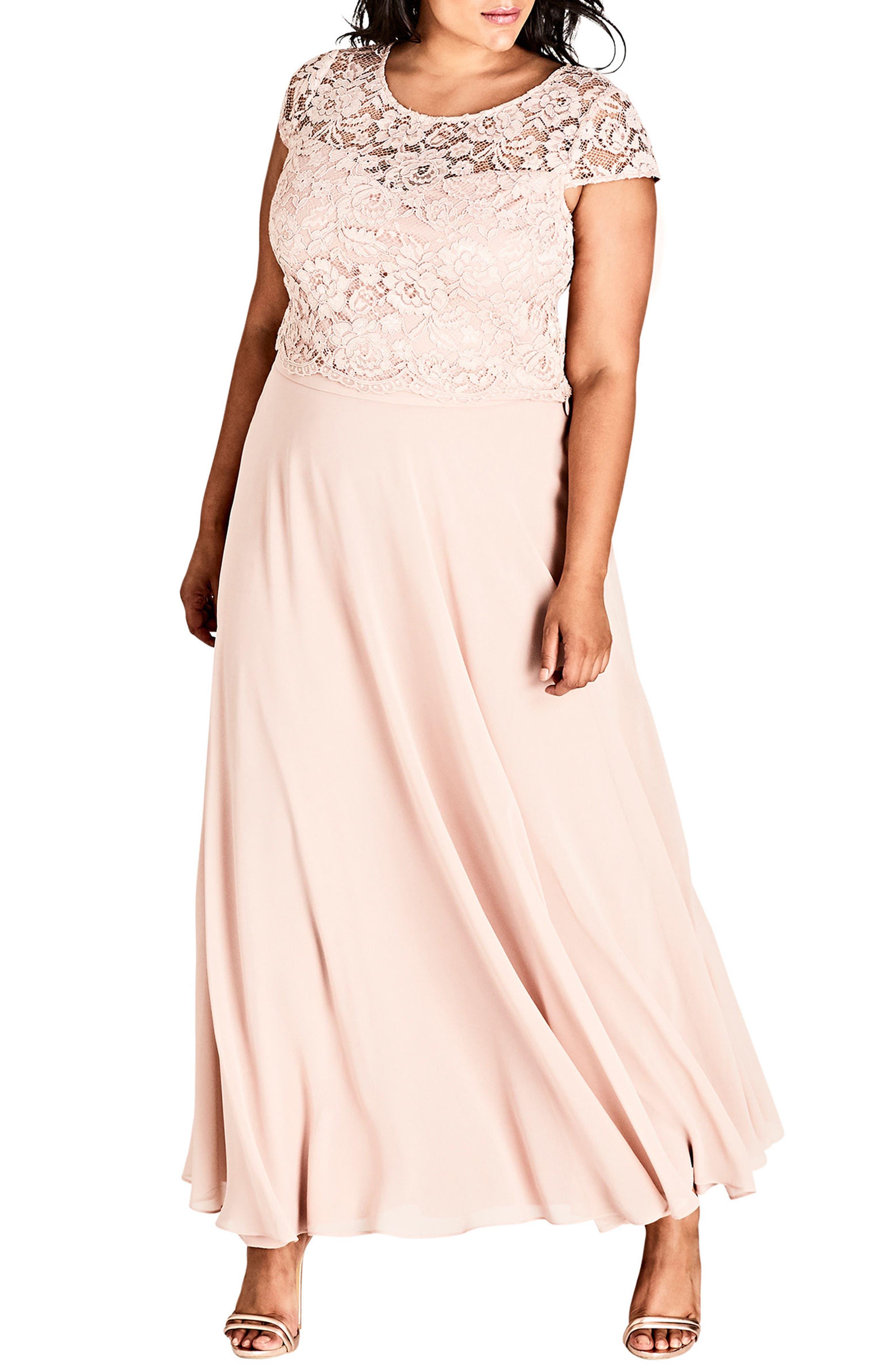 Plus Size City Chic Elegance Maxi Dress Set, Pink
