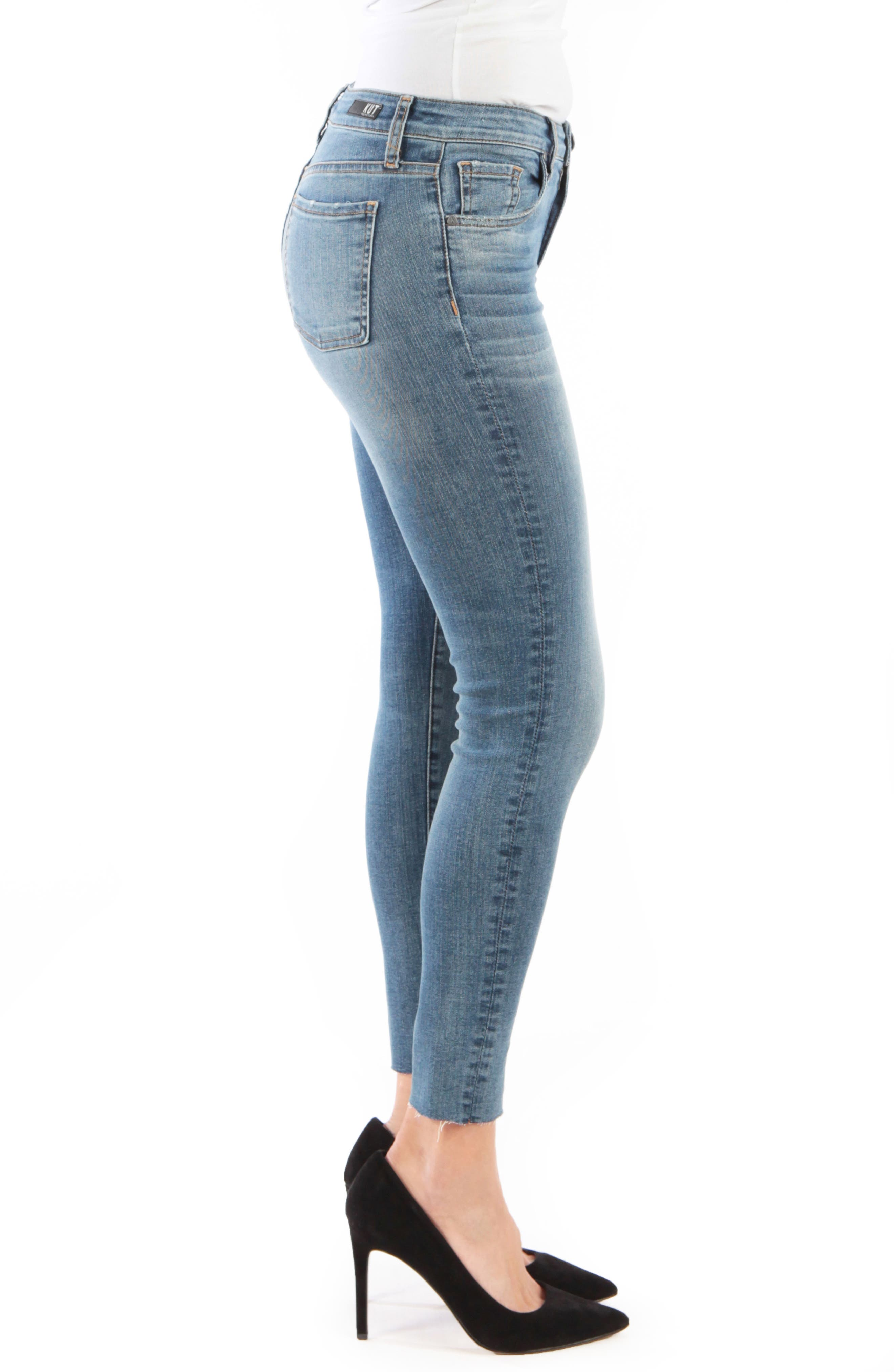 KUT FROM THE KLOTH, Donna High Waist Raw Hem Skinny Jeans, Alternate thumbnail 4, color, PHILOSOPHICAL