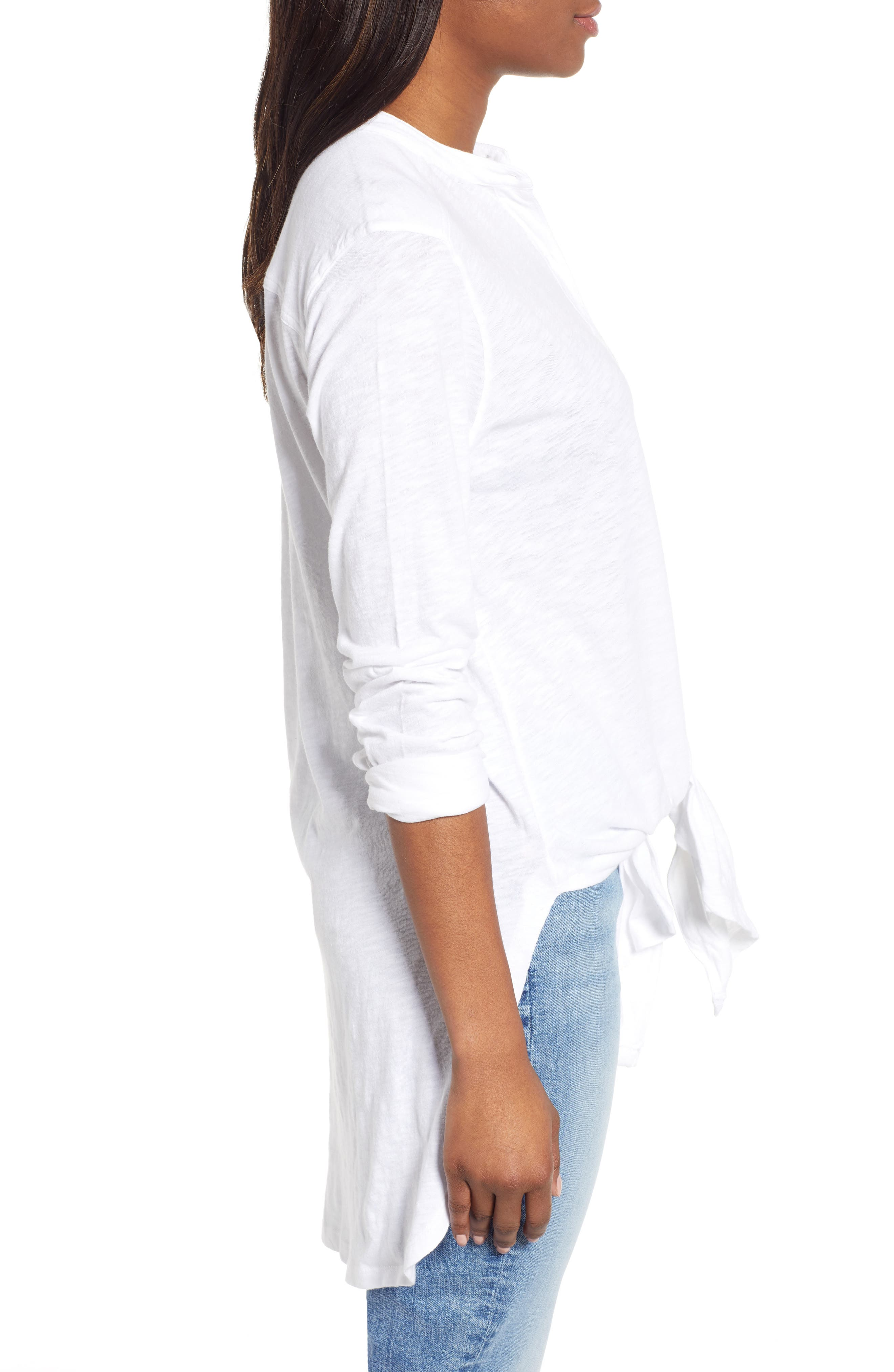 CASLON<SUP>®</SUP>, Button Down Knit Tunic, Alternate thumbnail 3, color, WHITE