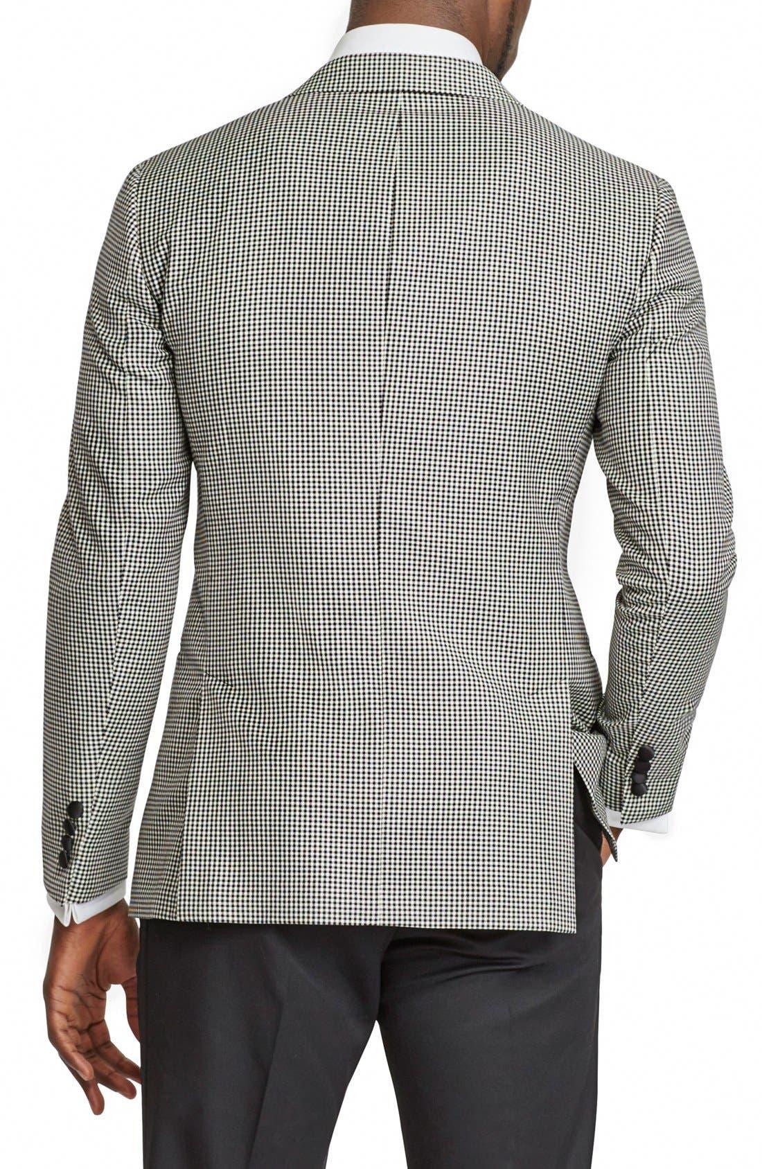 BONOBOS, Trim Fit Check Wool Dinner Jacket, Alternate thumbnail 4, color, 001