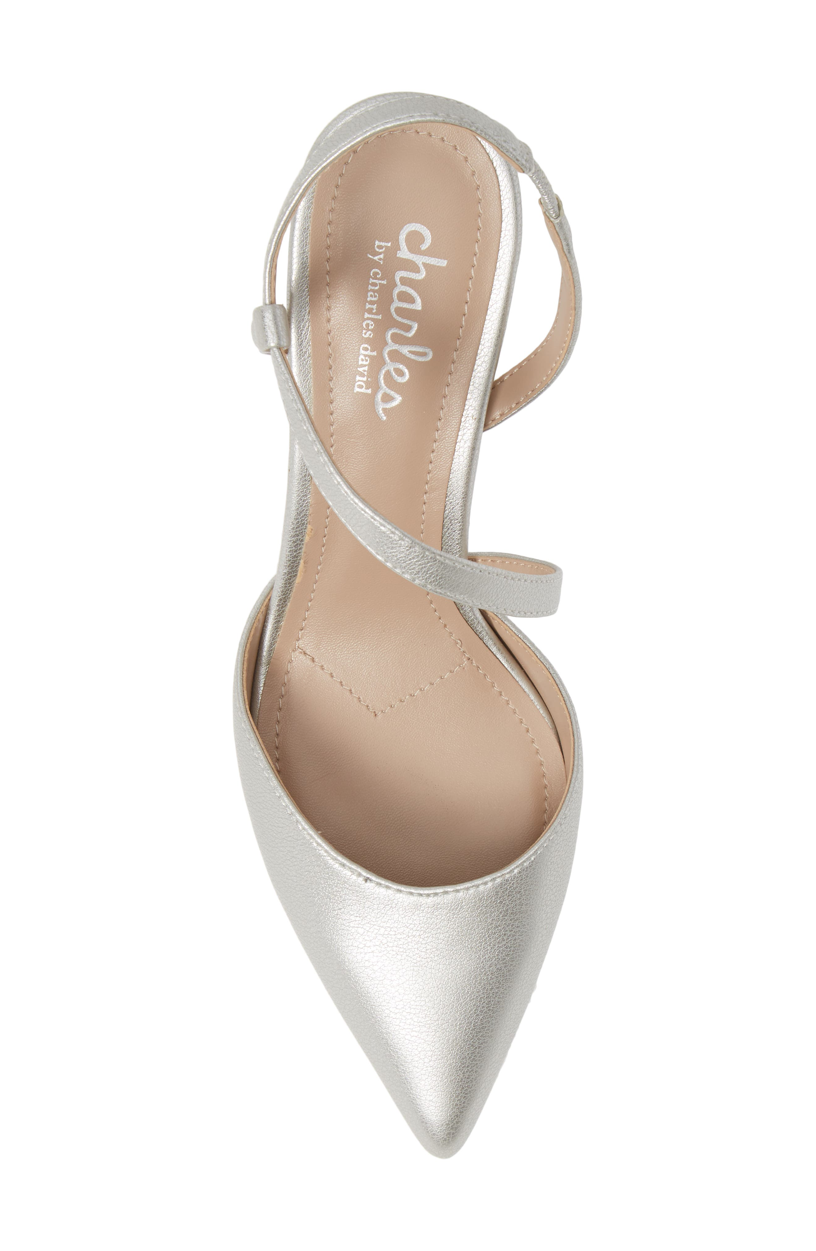 CHARLES BY CHARLES DAVID, Alda Pump, Alternate thumbnail 5, color, SILVER FAUX LEATHER