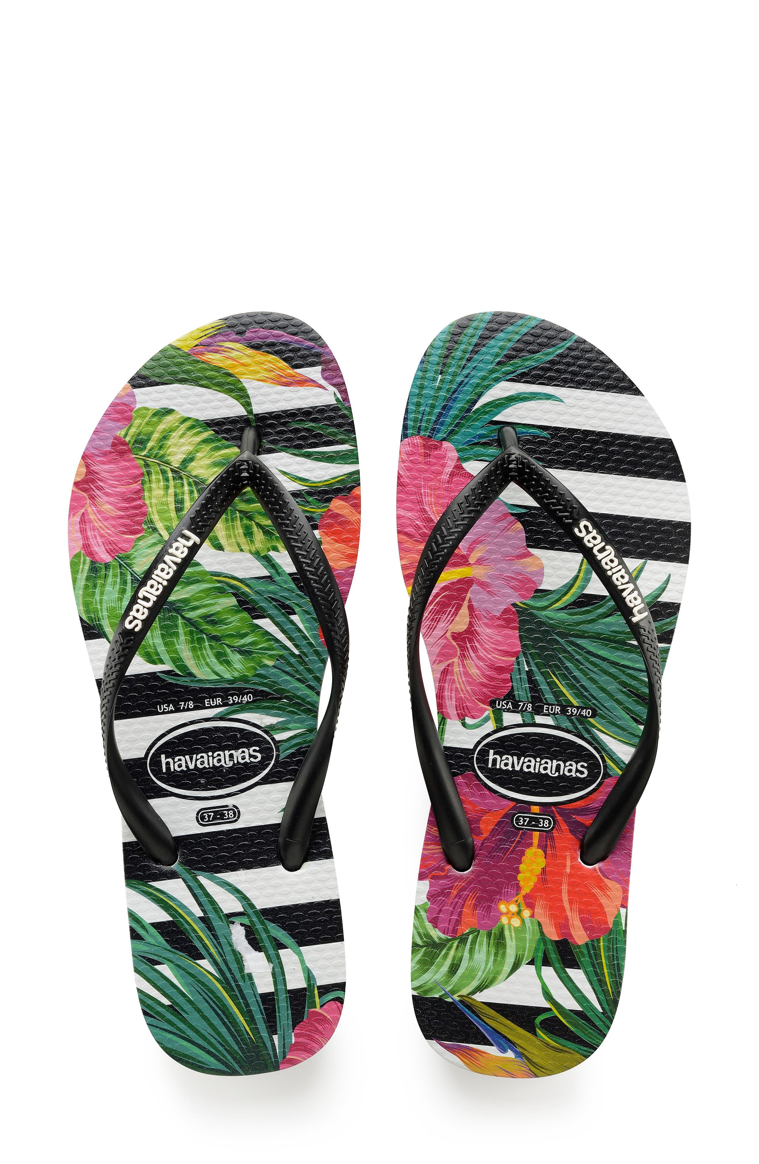HAVAIANAS, Slim Tropical Floral Flip Flop, Main thumbnail 1, color, BLACK/ WHITE