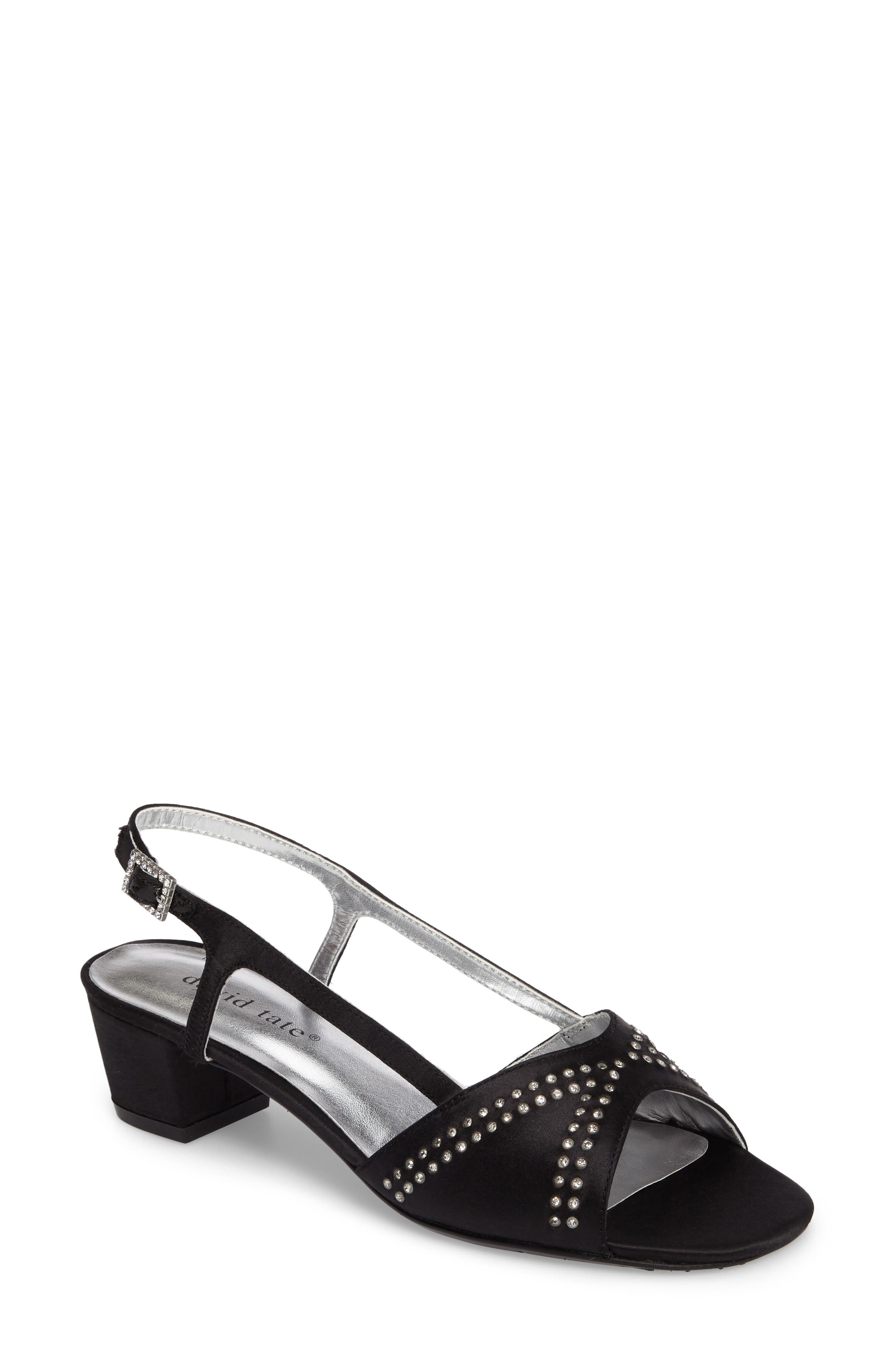 DAVID TATE, Wish Slingback Sandal, Main thumbnail 1, color, BLACK SATIN