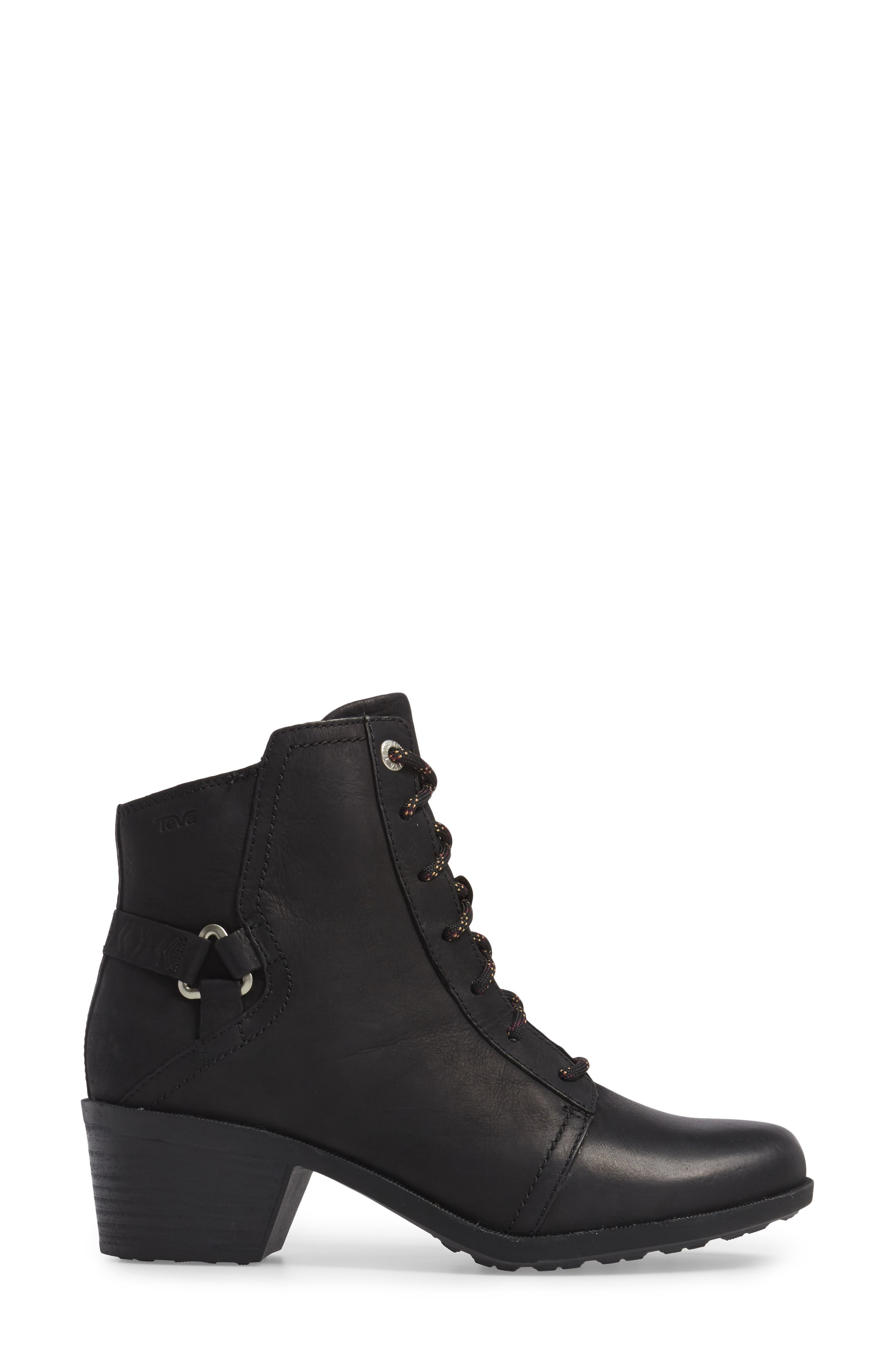 TEVA, Foxy Lace-Up Waterproof Boot, Alternate thumbnail 3, color, BLACK LEATHER
