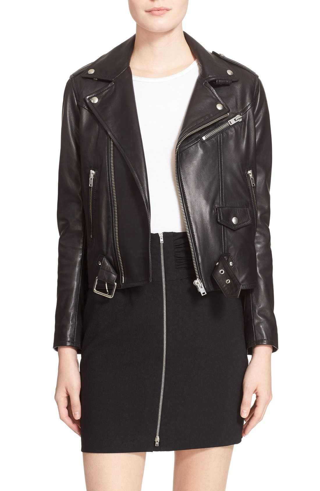 IRO, Lambskin Leather Moto Jacket, Main thumbnail 1, color, 001