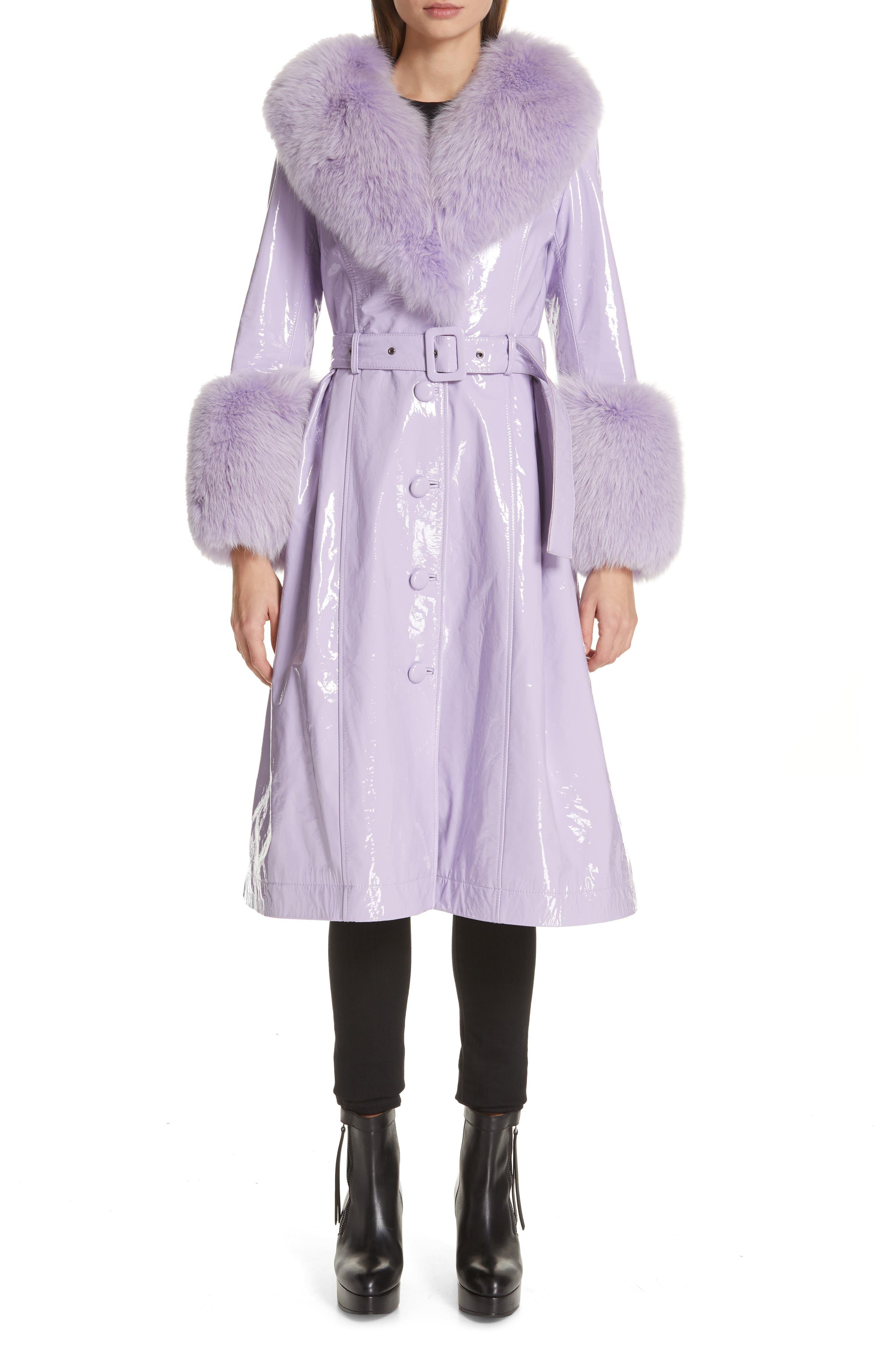 SAKS POTTS, Patent Leather Coat with Genuine Fox Fur Trim, Main thumbnail 1, color, LAVENDER