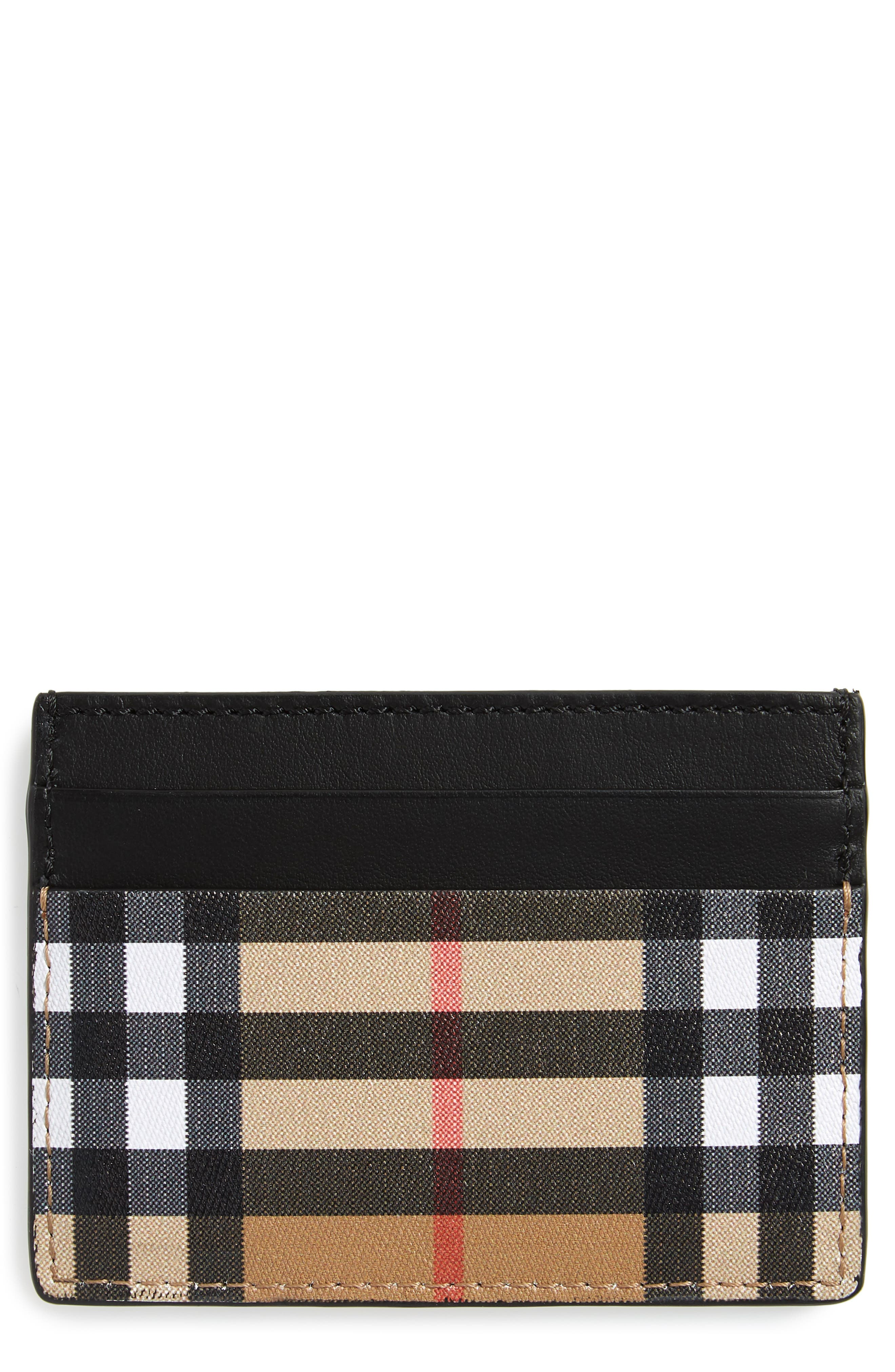 BURBERRY Horseferry Leather Card Case, Main, color, BLACK