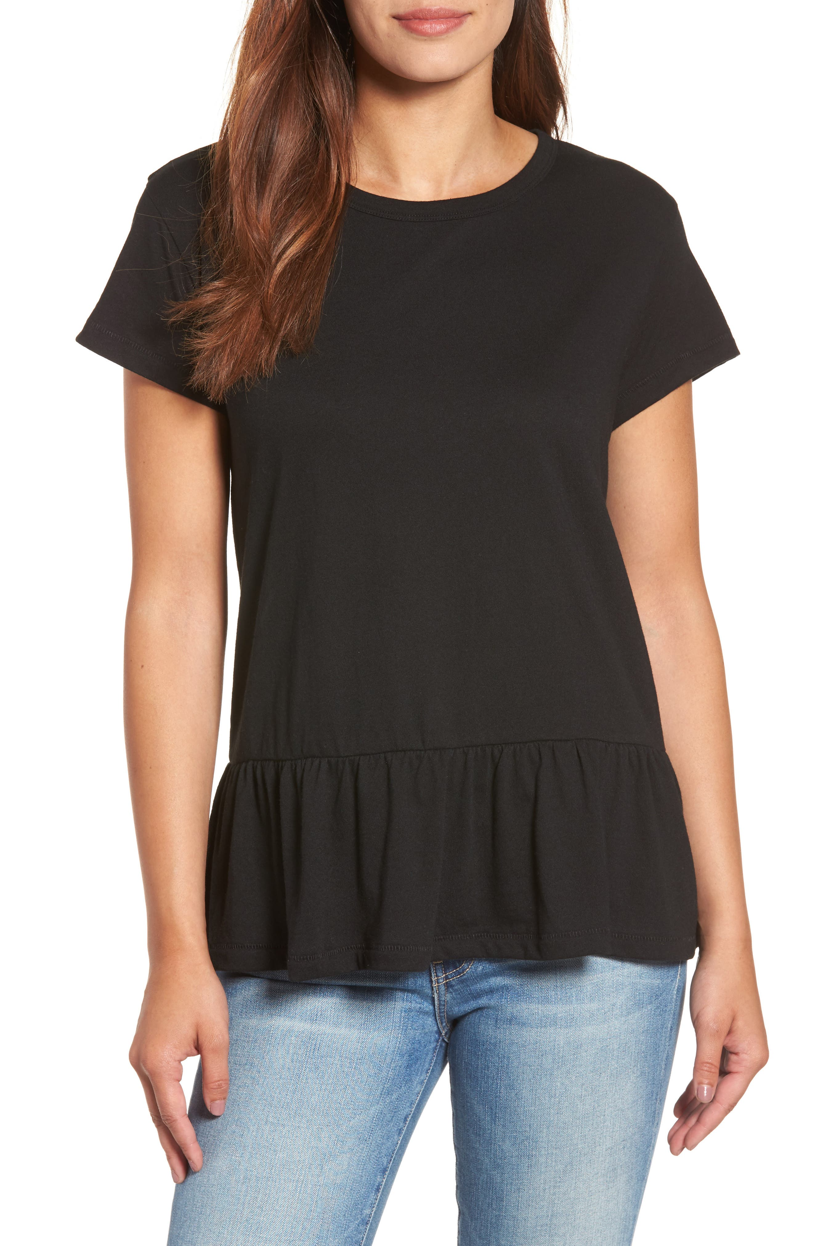 CASLON<SUP>®</SUP>, Peplum Tee, Main thumbnail 1, color, BLACK