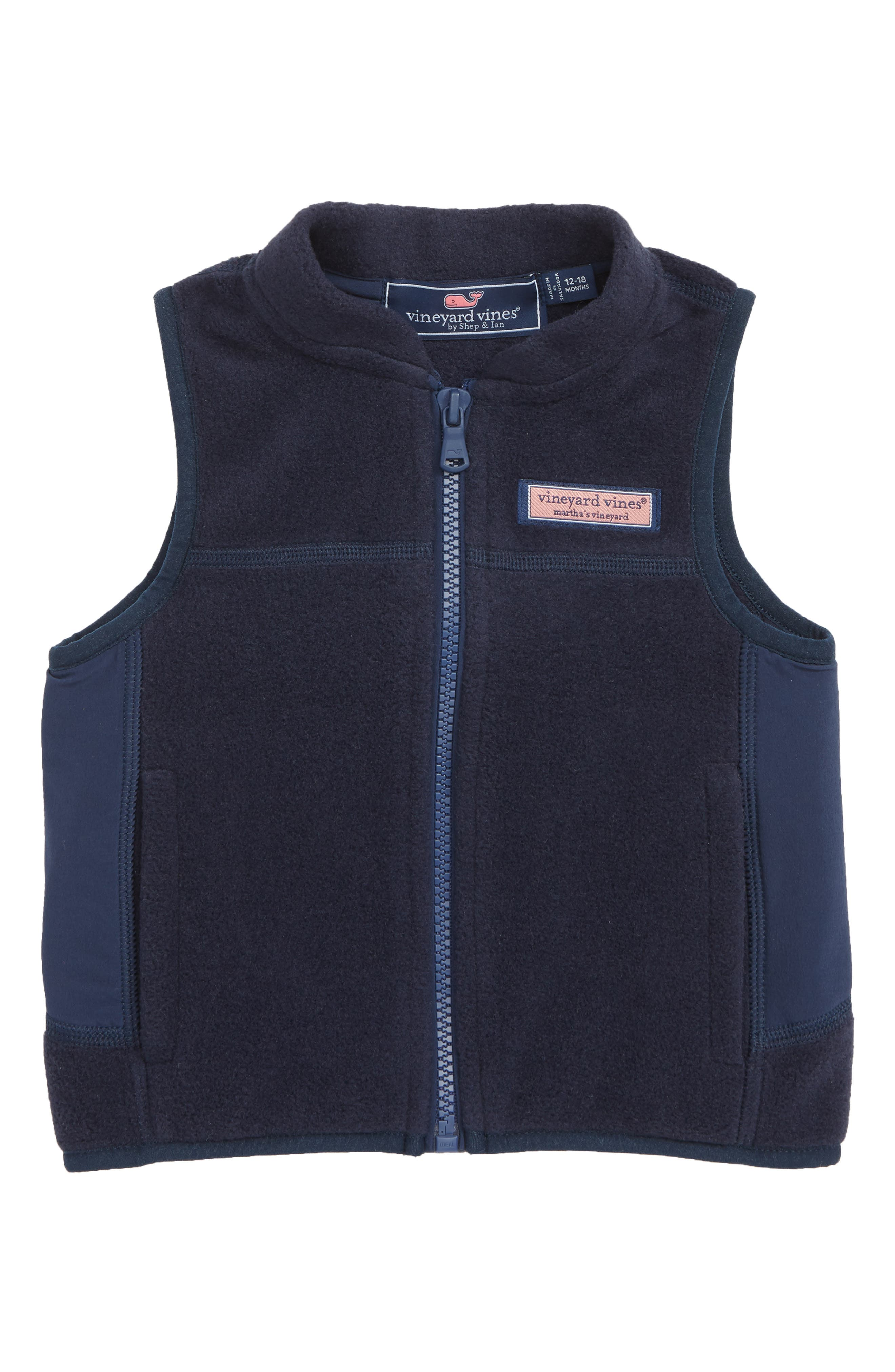 VINEYARD VINES, Harbor Fleece Vest, Main thumbnail 1, color, VINEYARD NAVY