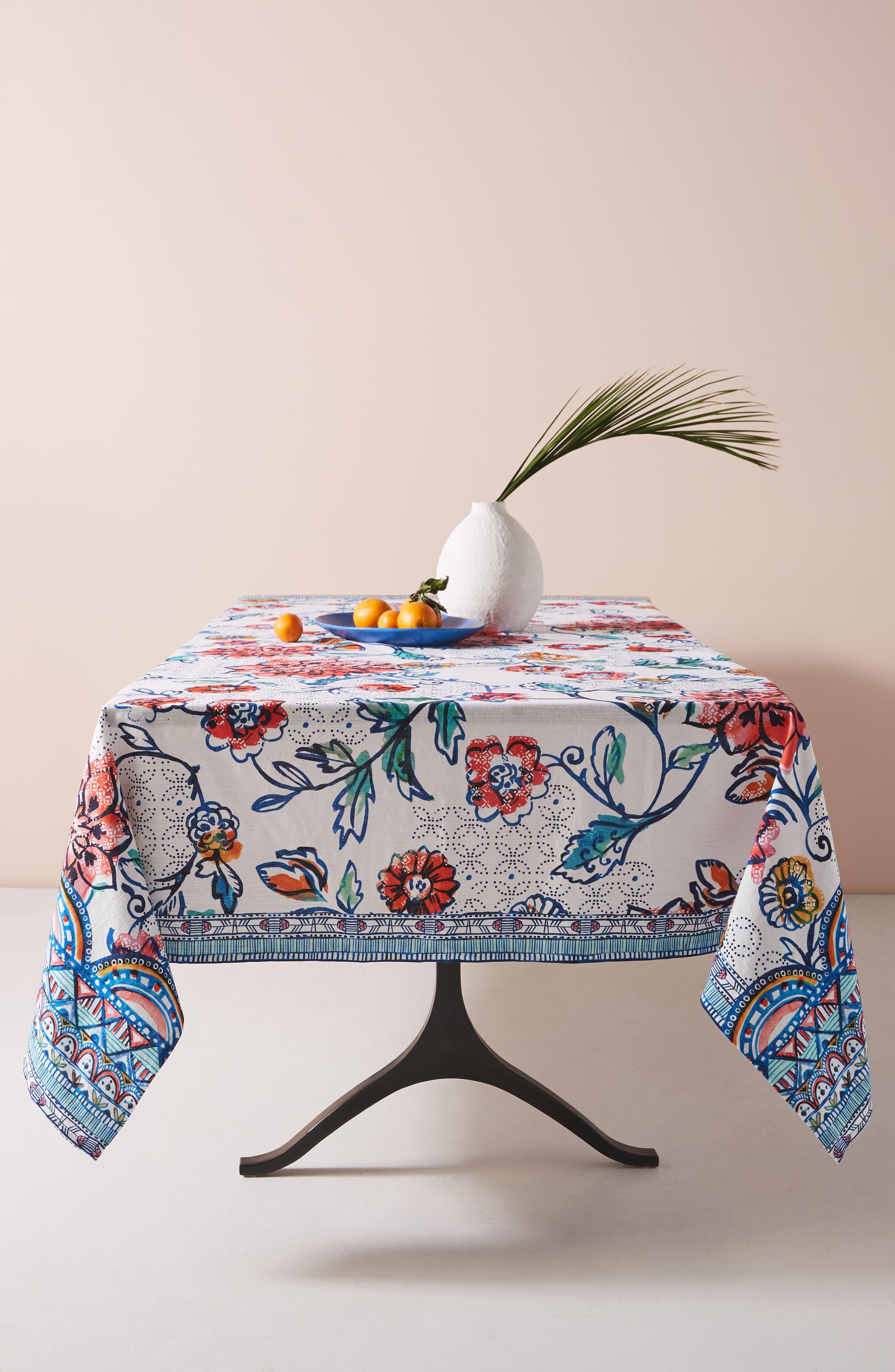ANTHROPOLOGIE Belinda Tablecloth, Main, color, TURQ