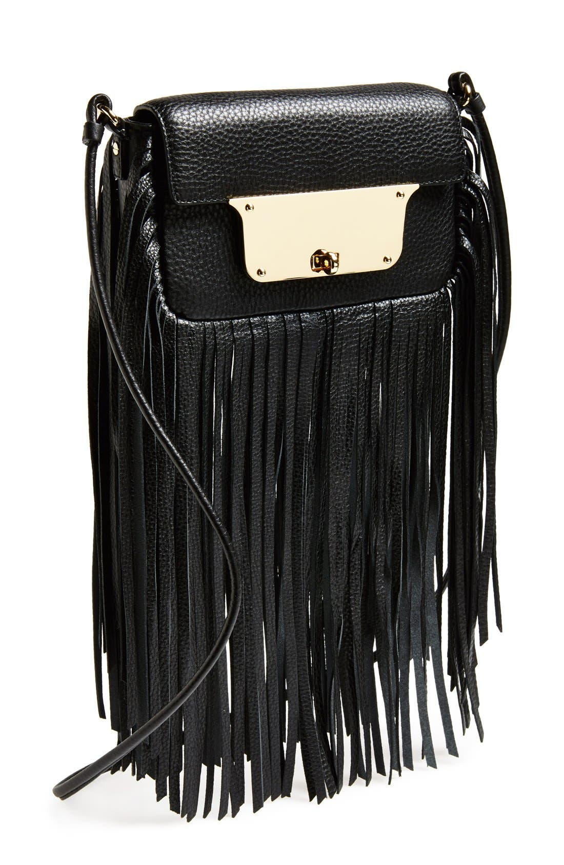 MILLY 'Isabella' Fringe Crossbody Bag, Main, color, 001