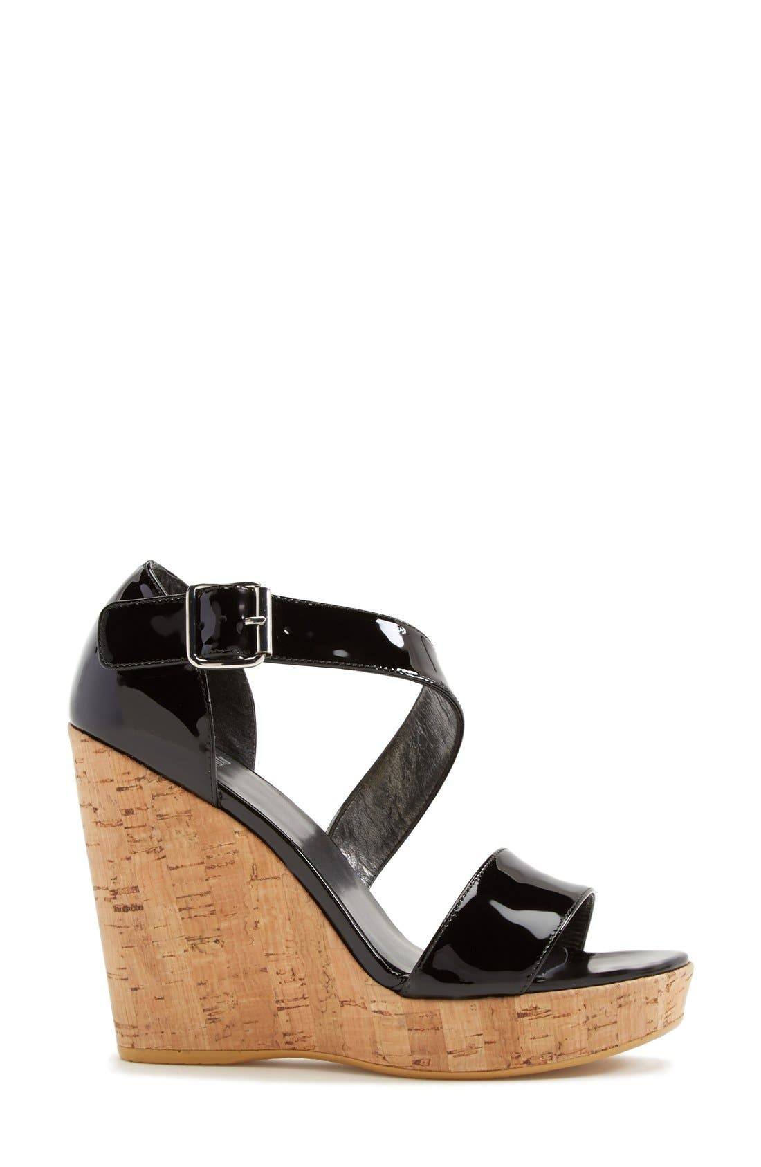 STUART WEITZMAN, 'Oneliner' Patent Leather Wedge Sandal, Alternate thumbnail 3, color, 001