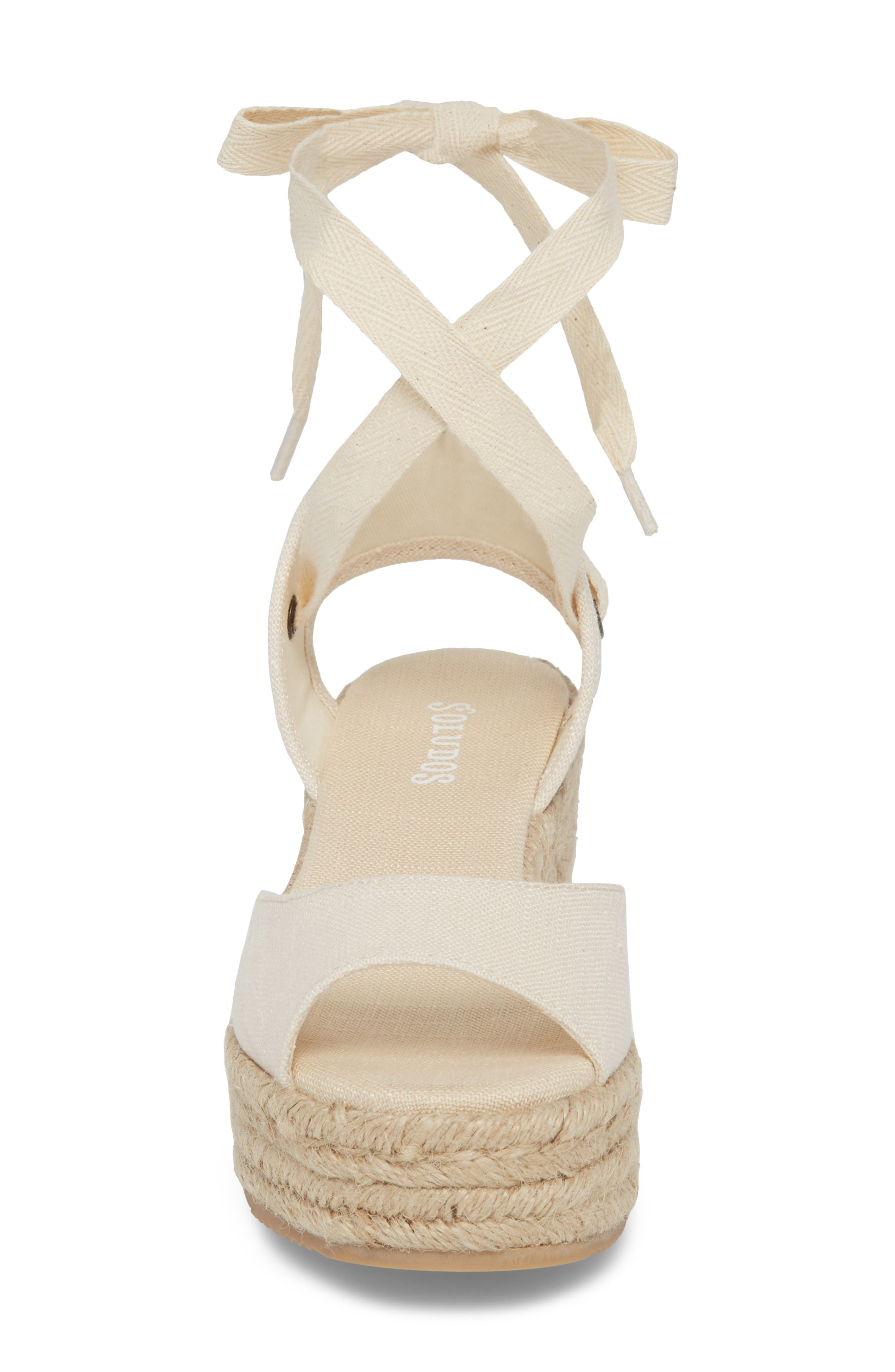 SOLUDOS, Espadrille Platform Sandal, Alternate thumbnail 4, color, BLUSH FABRIC