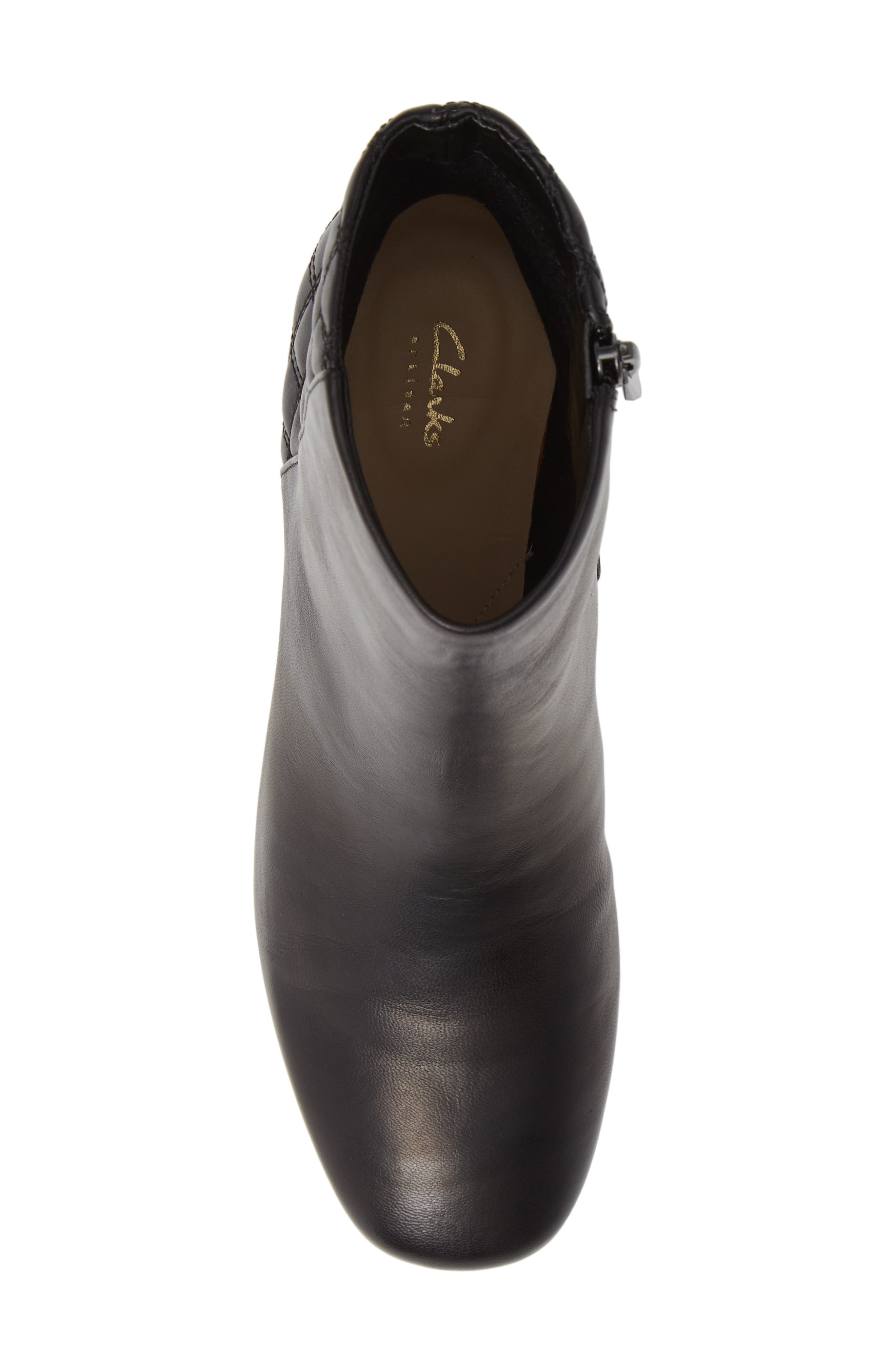 CLARKS<SUP>®</SUP>, Tealia Luck Bootie, Alternate thumbnail 5, color, BLACK LEATHER