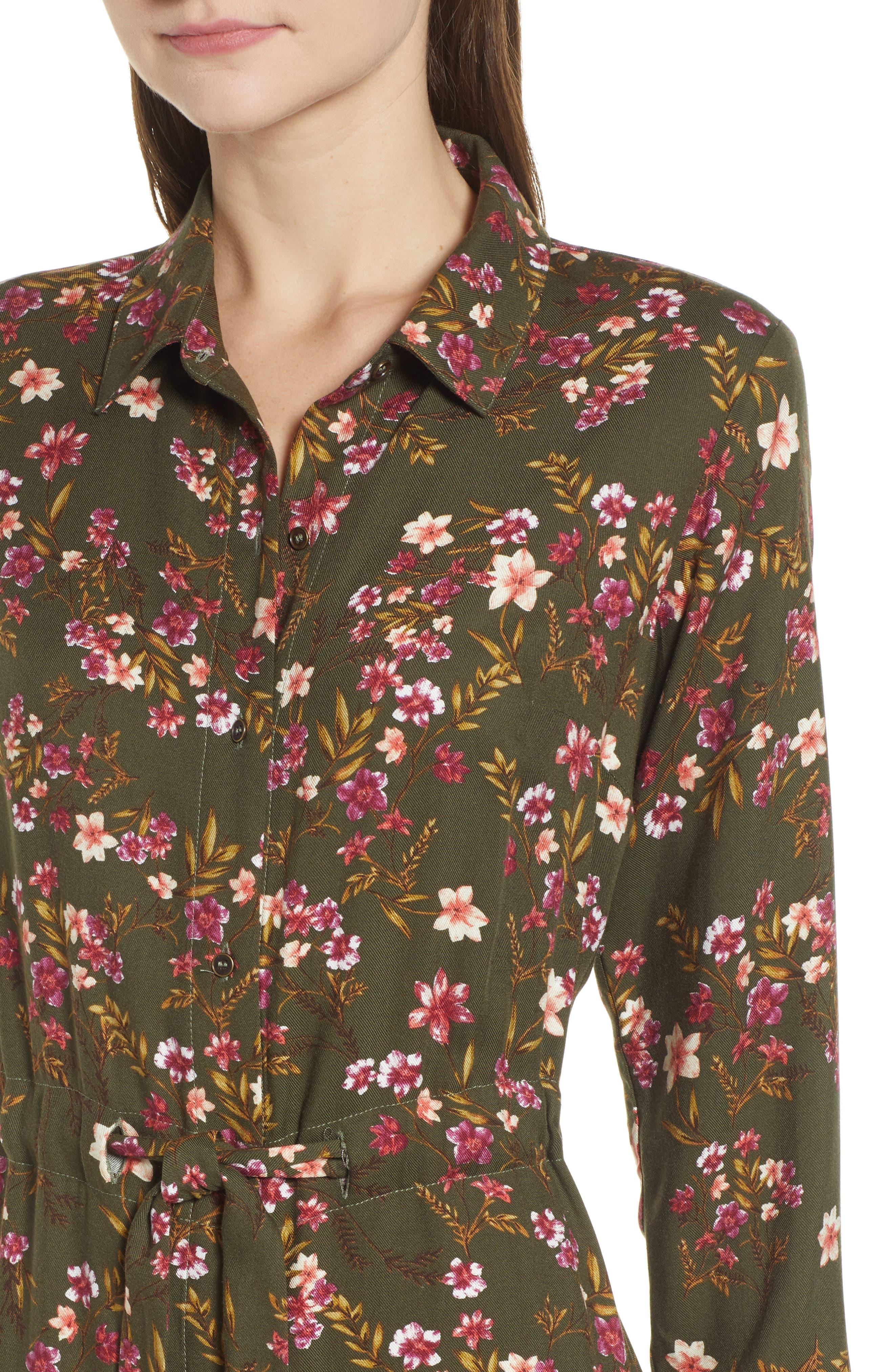 BP., Floral Midi Dress, Alternate thumbnail 5, color, OLIVE BURNT SAVANNAH FLORAL
