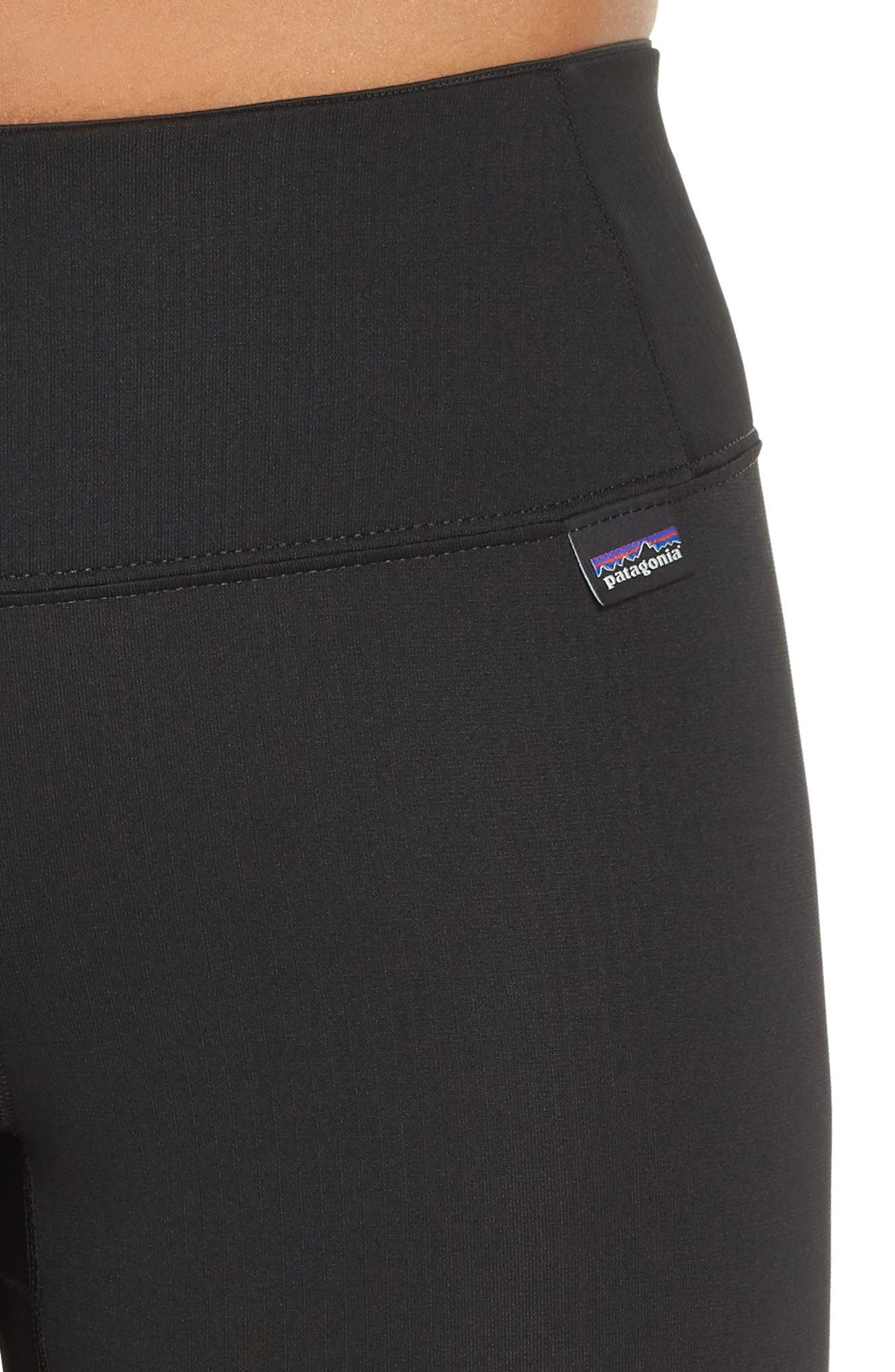 PATAGONIA, Capilene Midweight Base Layer Tights, Alternate thumbnail 5, color, BLACK