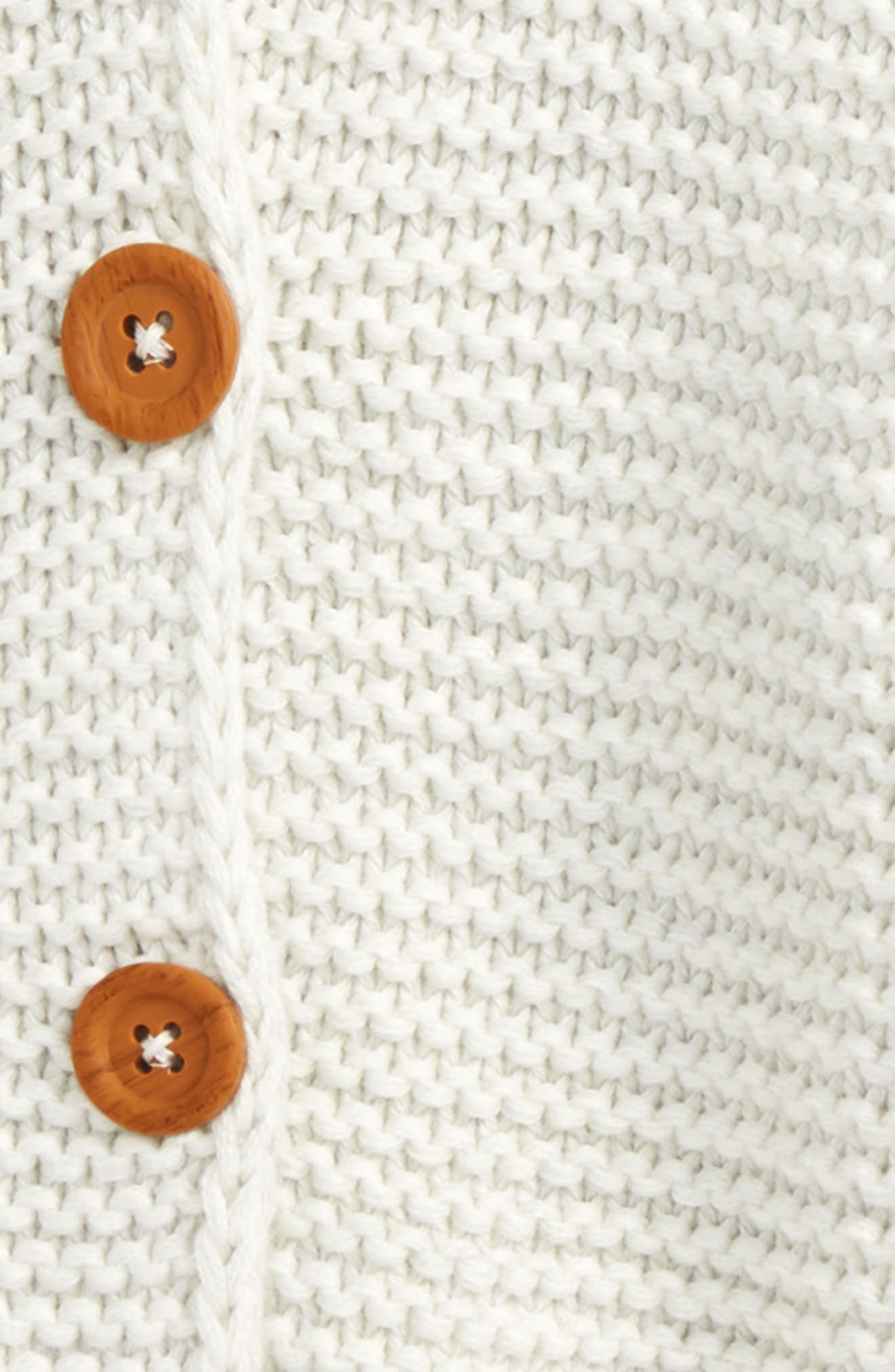 NORDSTROM BABY, Organic Cotton Hooded Cardigan, Alternate thumbnail 2, color, IVORY EGRET HEATHER
