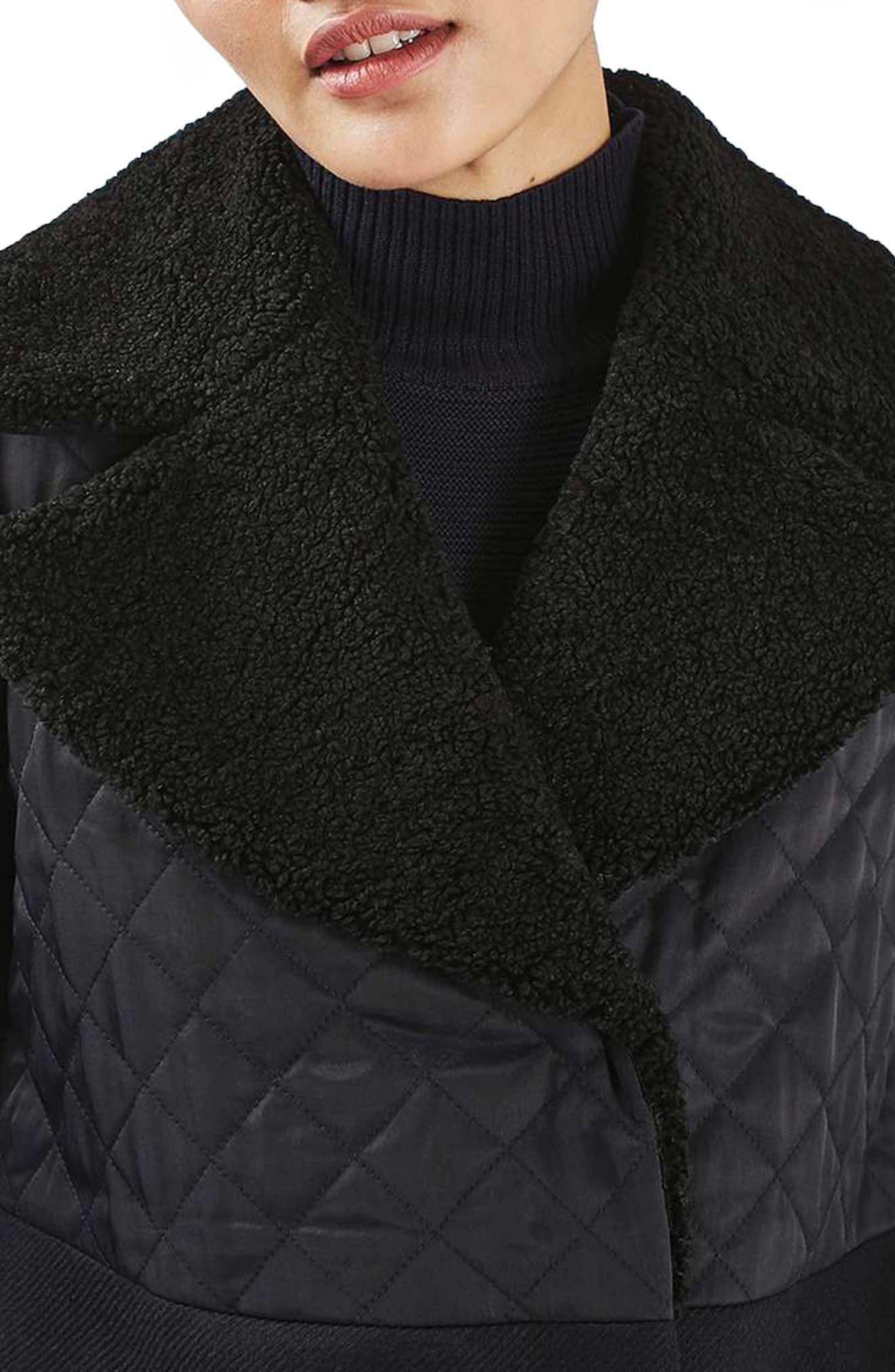 TOPSHOP, Faux Shearling Collar Coat, Alternate thumbnail 3, color, 410