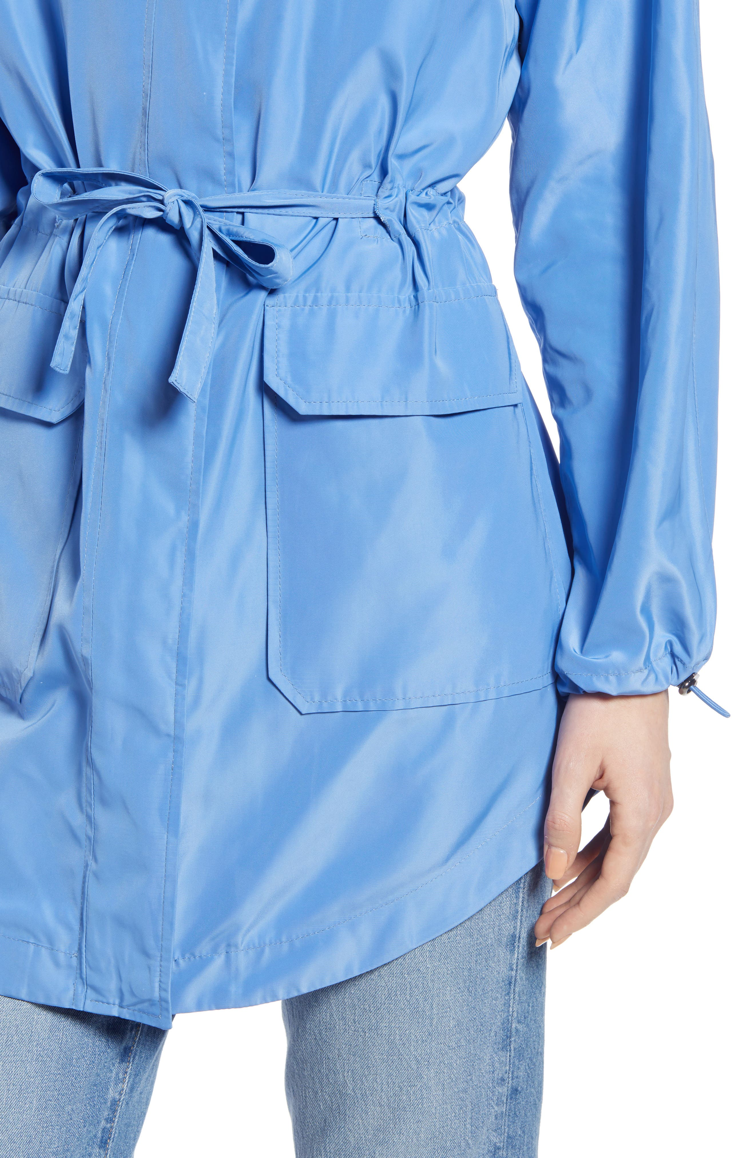 SOMETHING NAVY, Belted Parka, Alternate thumbnail 6, color, PERI