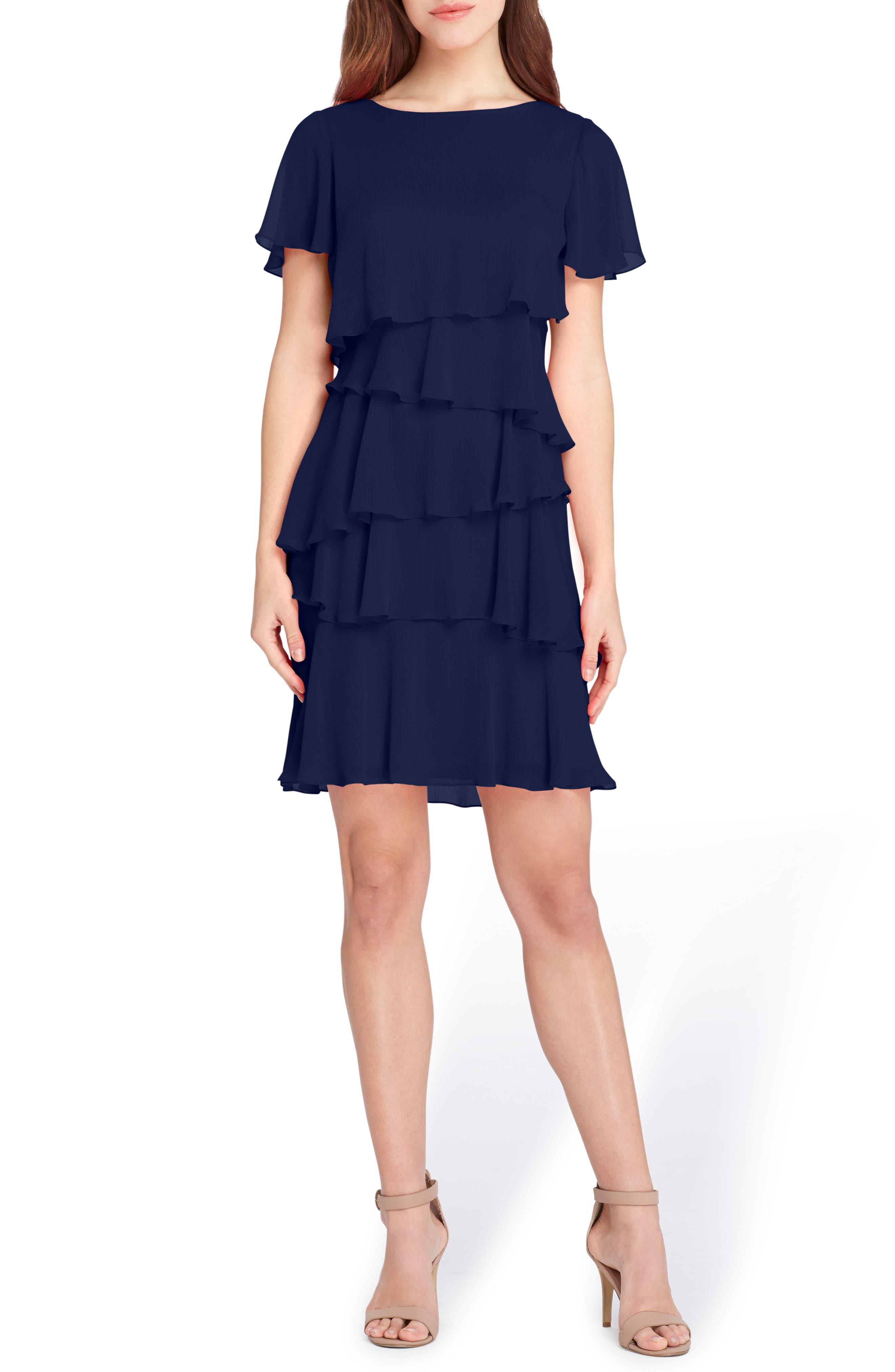 Tahari Tiered Chiffon Dress, Blue