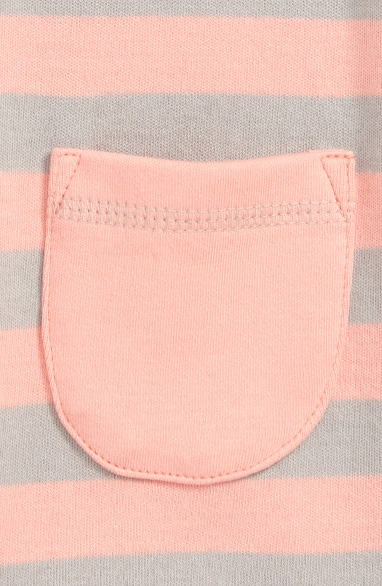 L'OVEDBABY, Organic Cotton Romper, Alternate thumbnail 3, color, CORAL/ LIGHT GRAY STRIPE