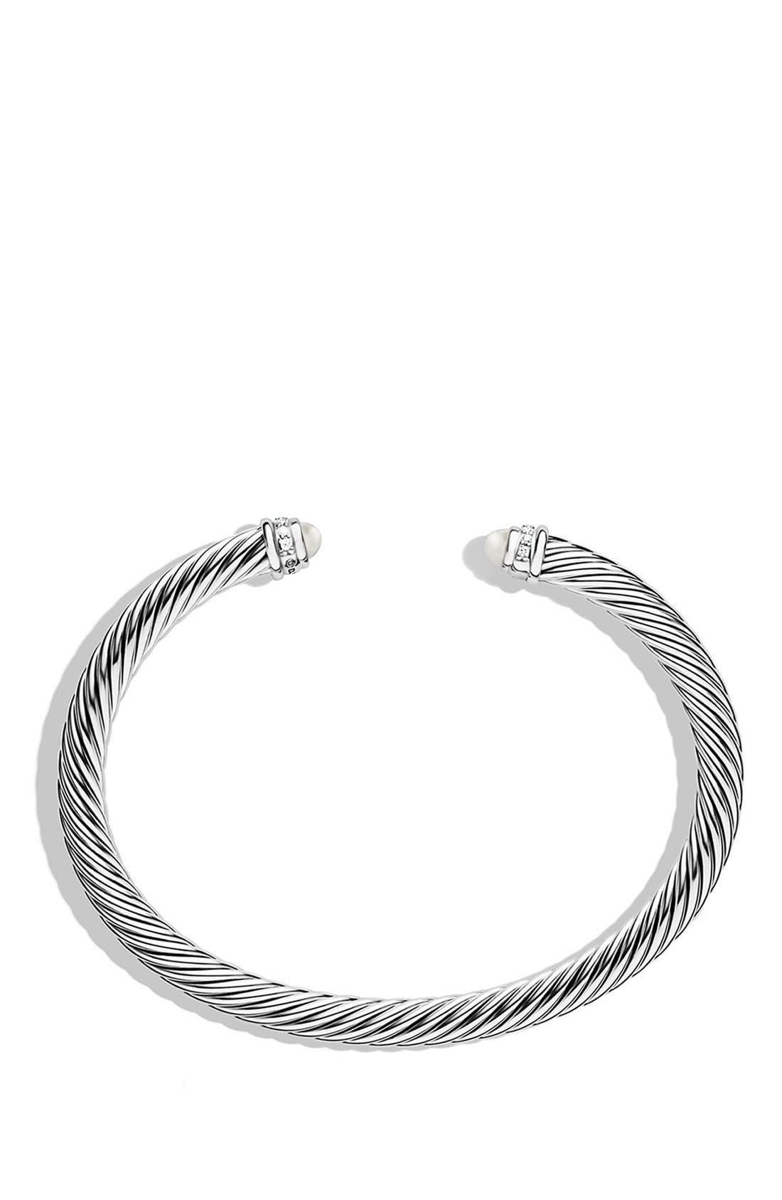 DAVID YURMAN, Cable Classics Bracelet with Semiprecious Stones & Diamonds, 5mm, Alternate thumbnail 3, color, PEARL