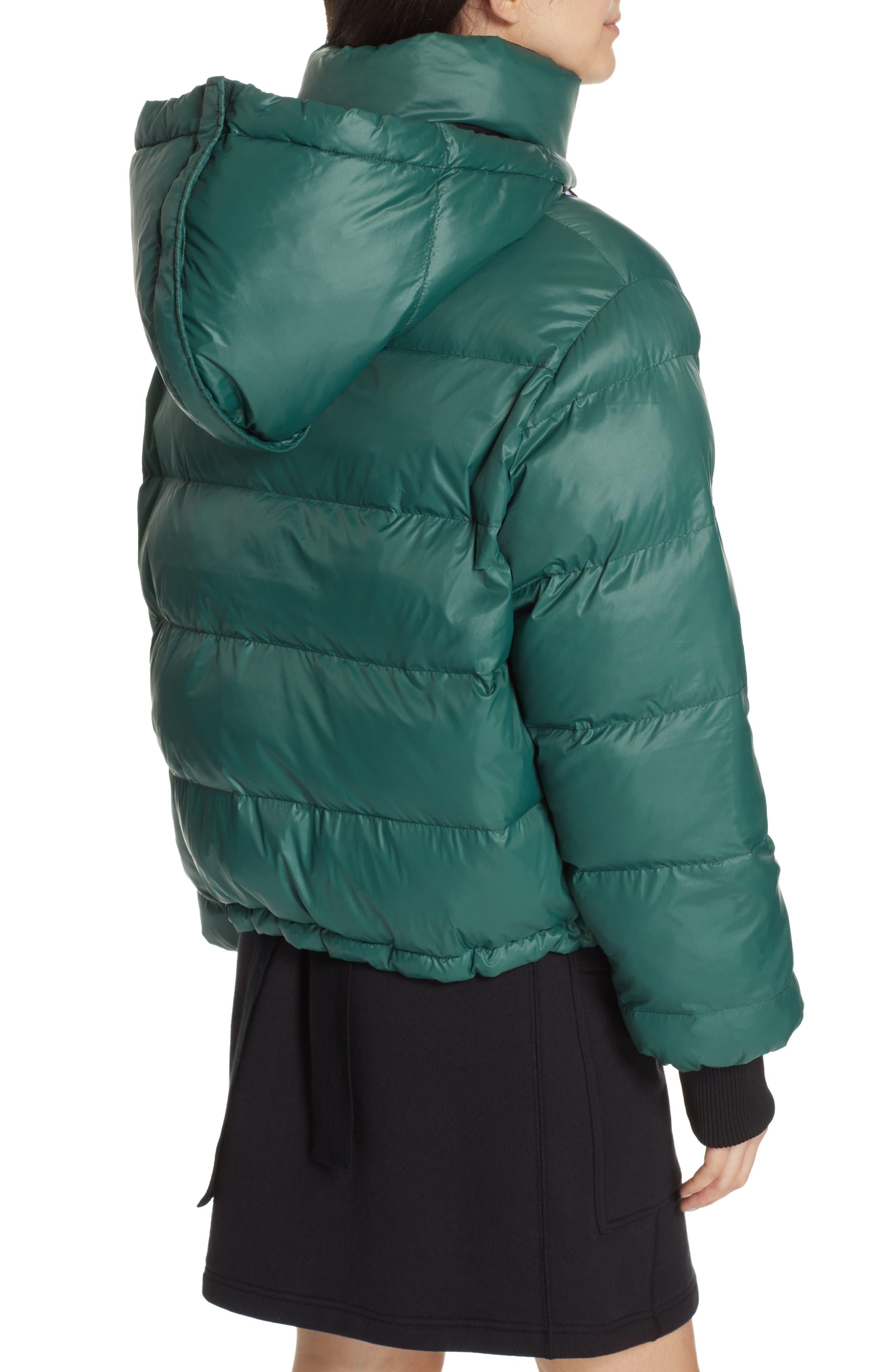 PROENZA SCHOULER, PSWL Reversible Puffer Coat, Alternate thumbnail 4, color, GREEN/ BLACK