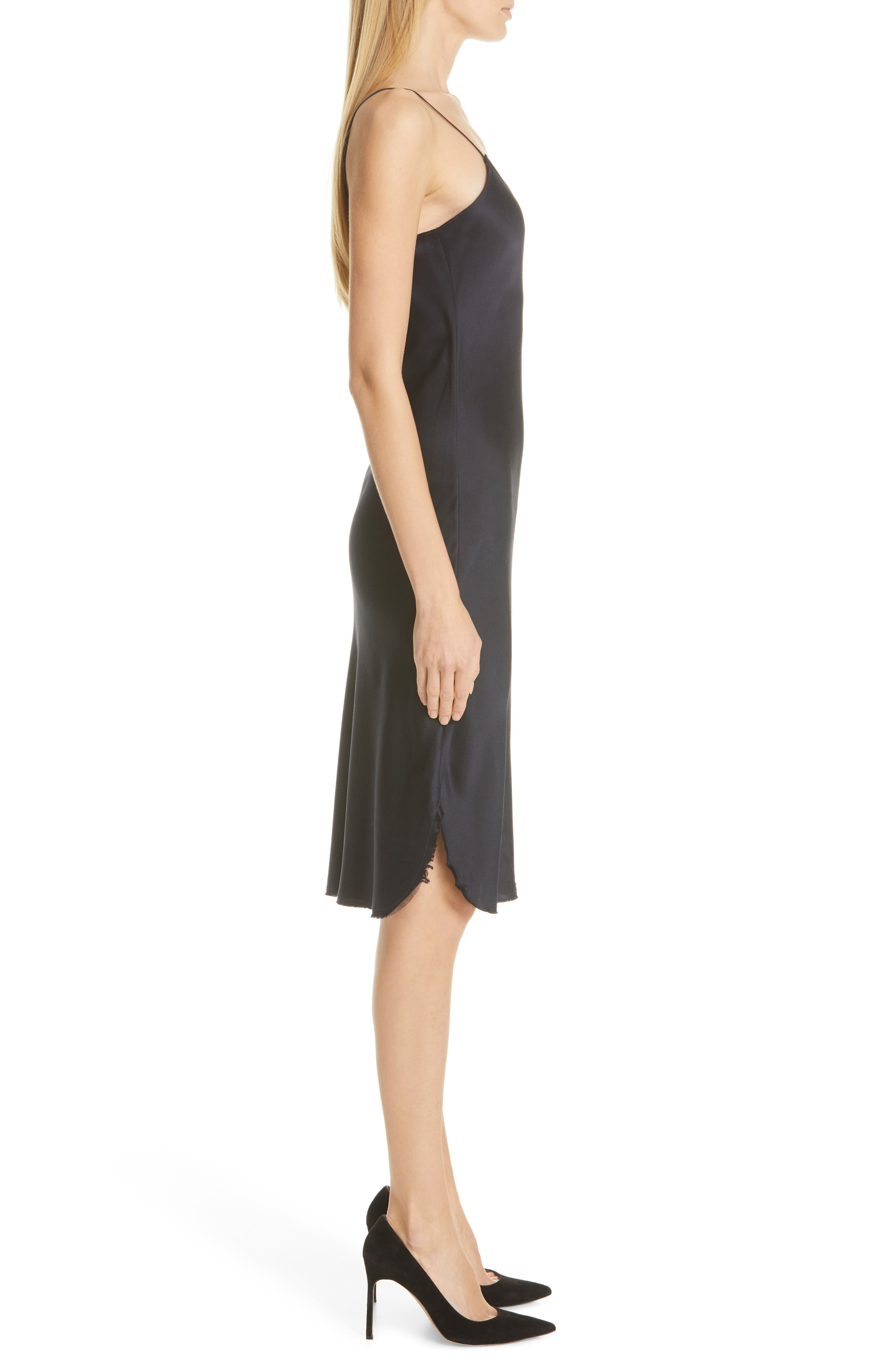 NILI LOTAN, Silk Slipdress, Alternate thumbnail 3, color, DARK NAVY