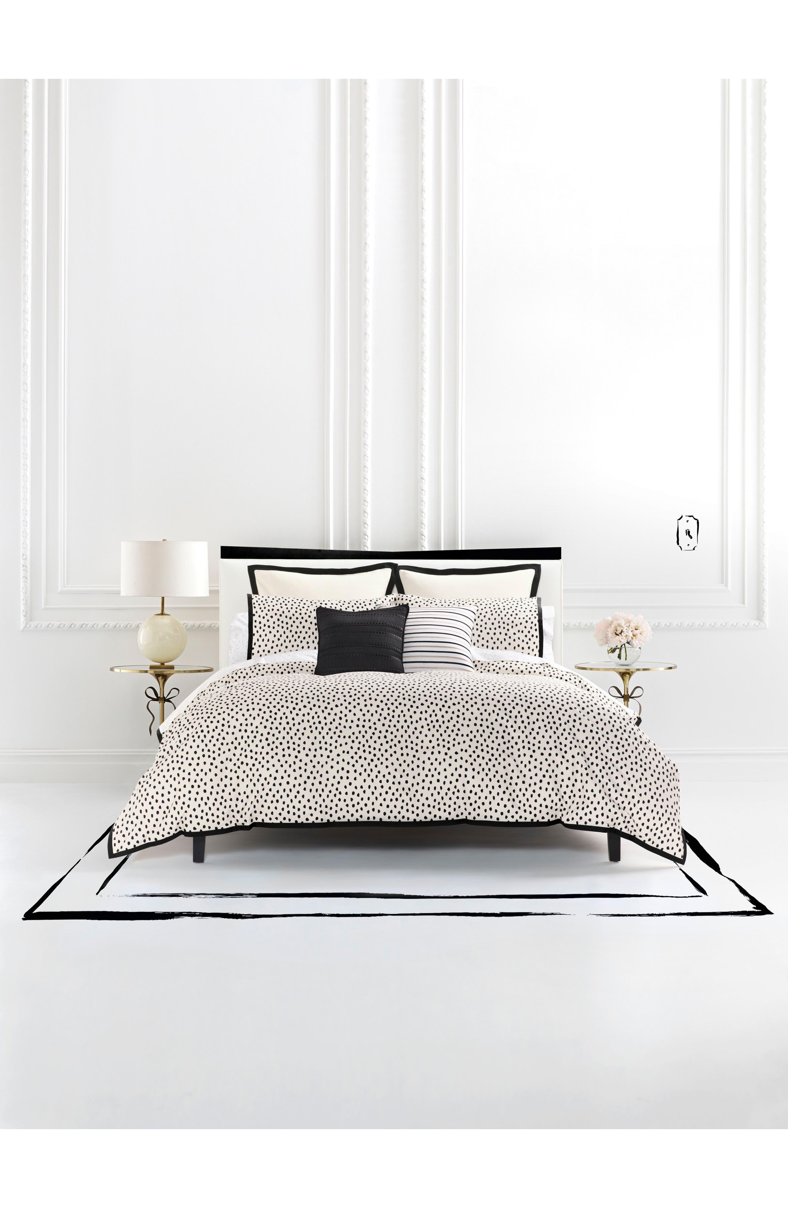 KATE SPADE NEW YORK, flamingo dot comforter & sham set, Main thumbnail 1, color, NATURAL/ BLK