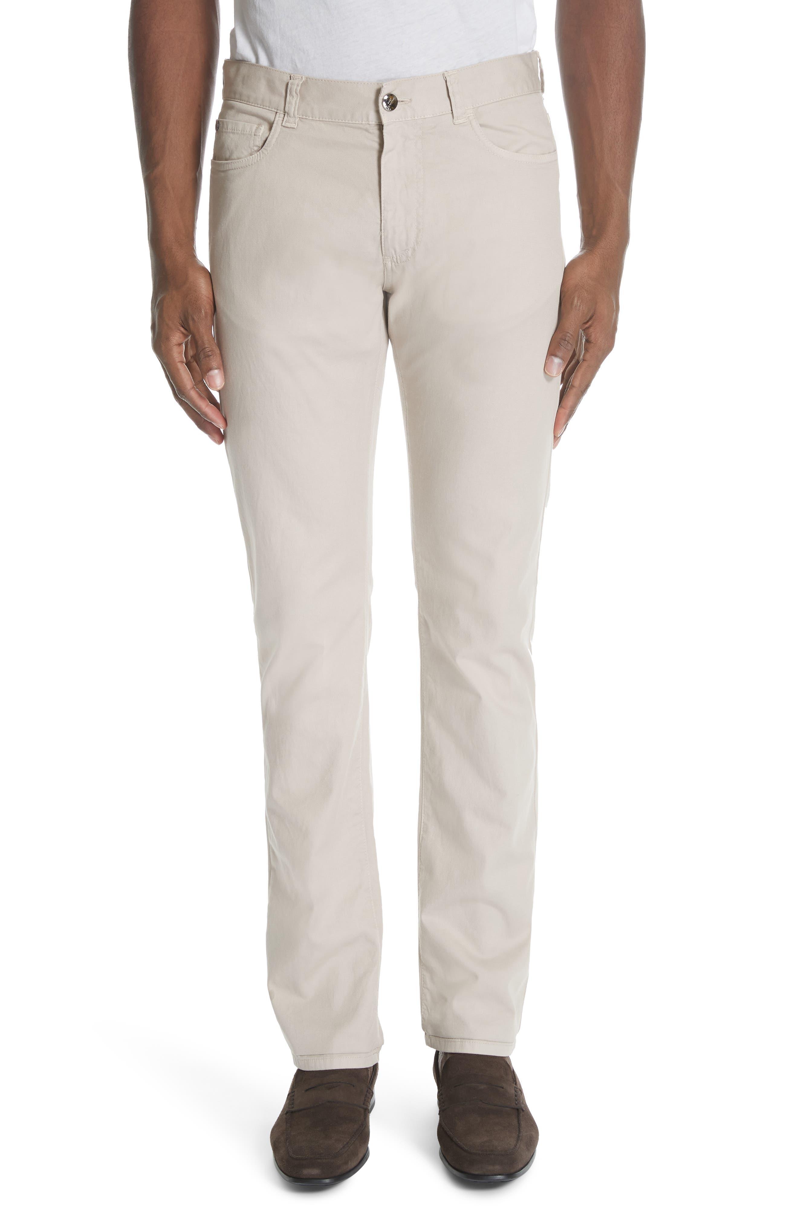 CANALI Stretch Cotton Five Pocket Trousers, Main, color, BEIGE
