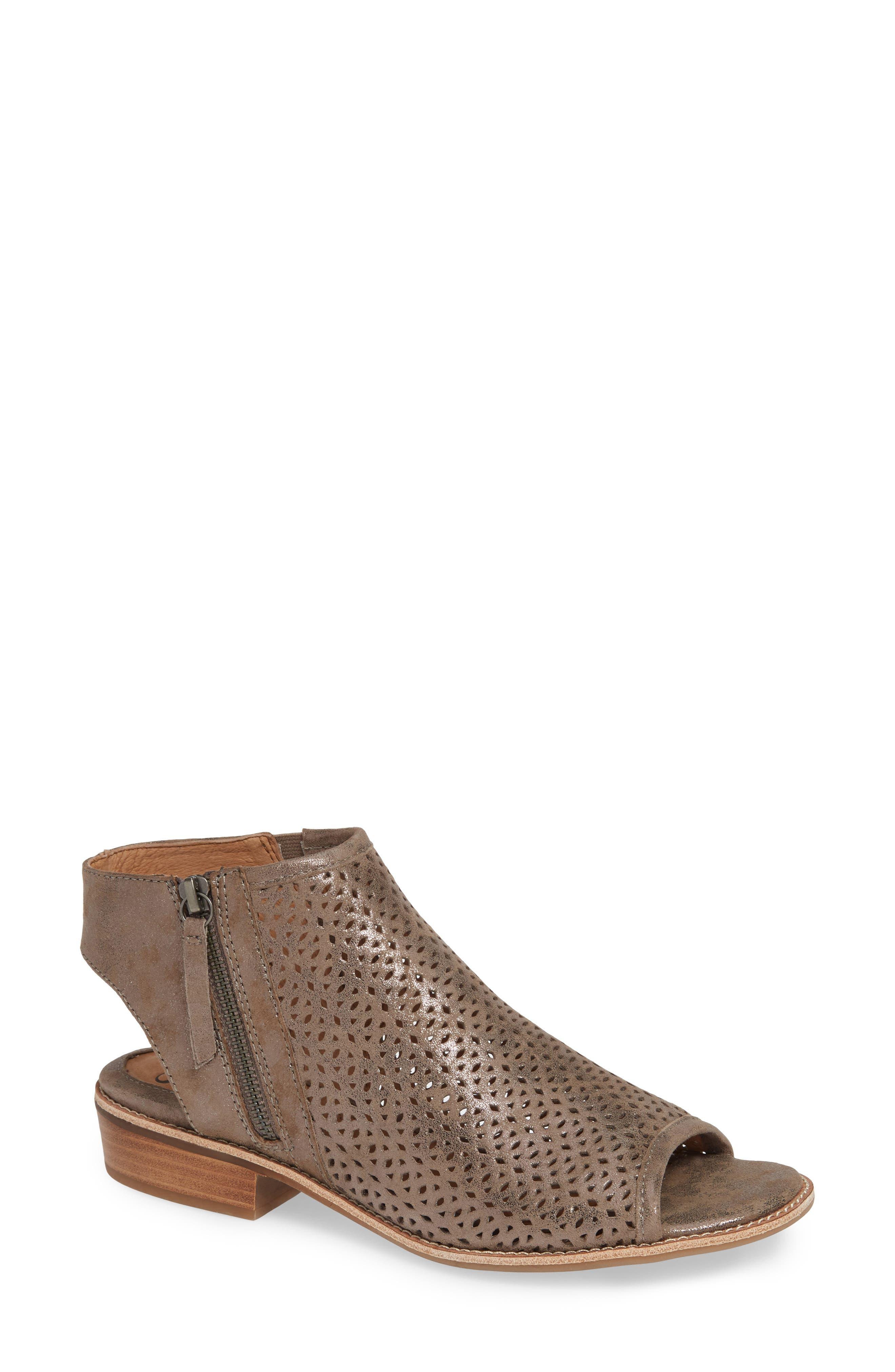 SÖFFT Natesa Perforated Sandal, Main, color, SMOKE SUEDE