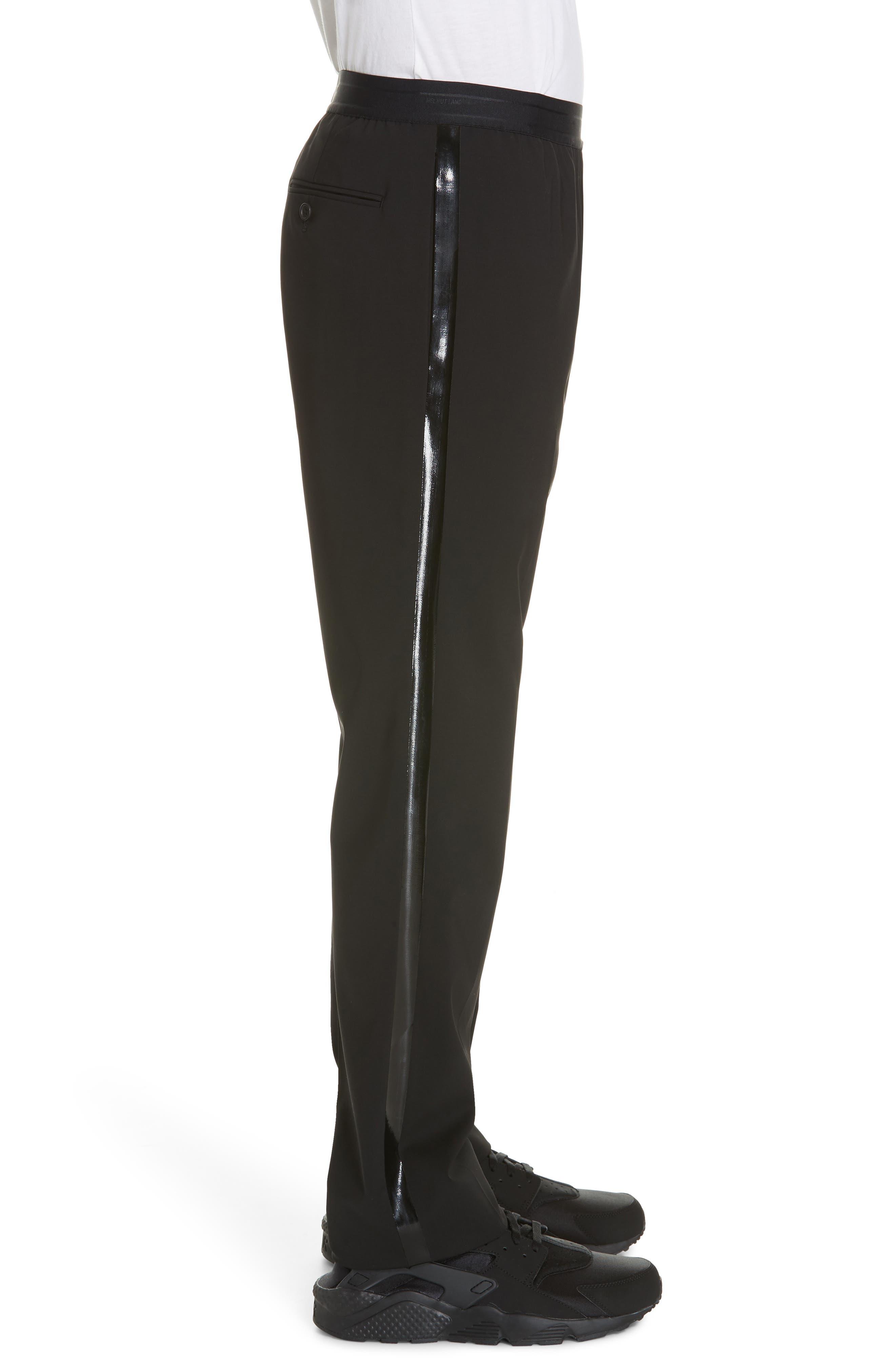 HELMUT LANG, Wool Pants, Alternate thumbnail 3, color, BLACK ON BLACK
