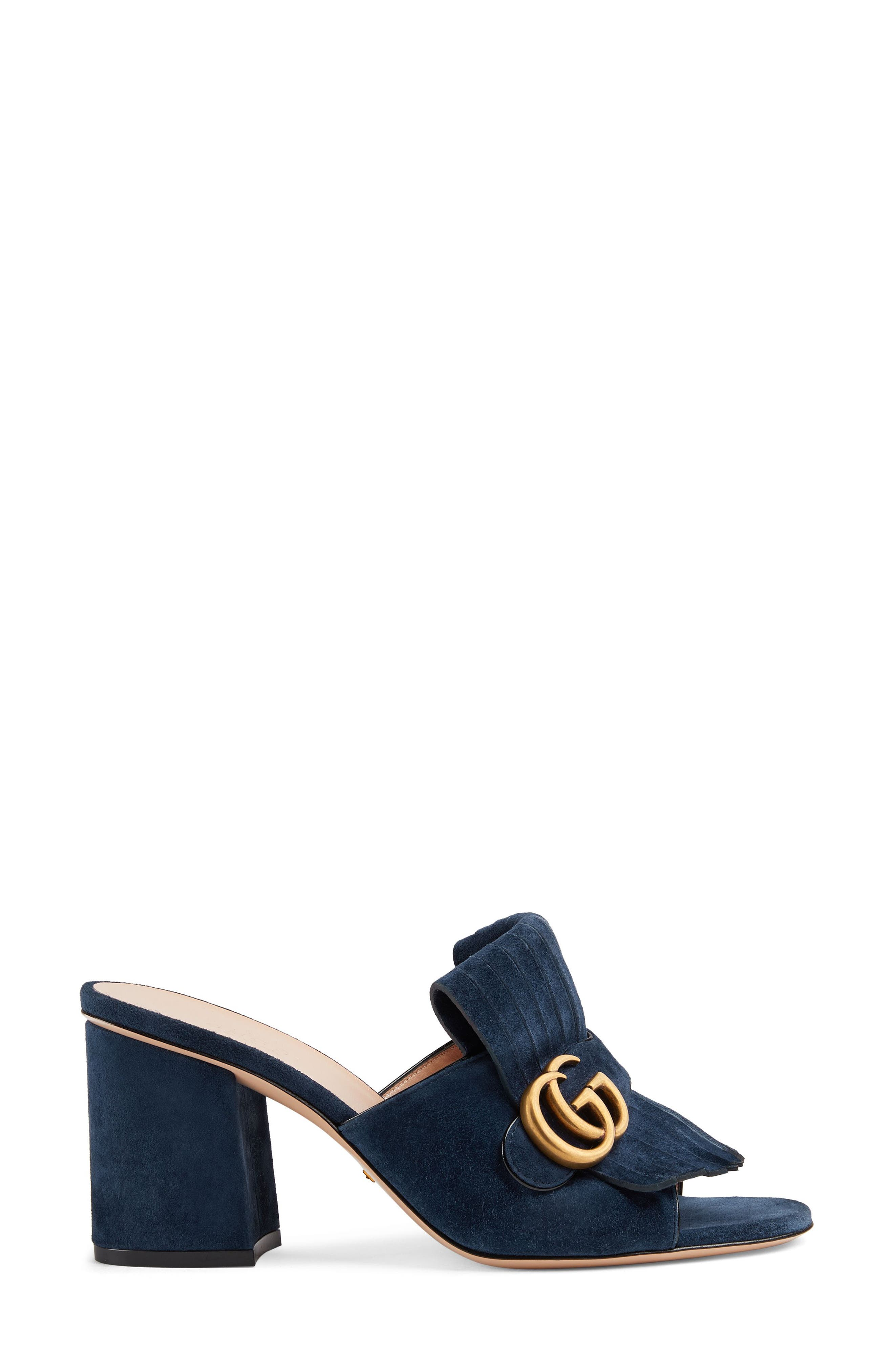 GUCCI, GG Marmont Peep Toe Mule, Alternate thumbnail 2, color, BLUE INK SUEDE