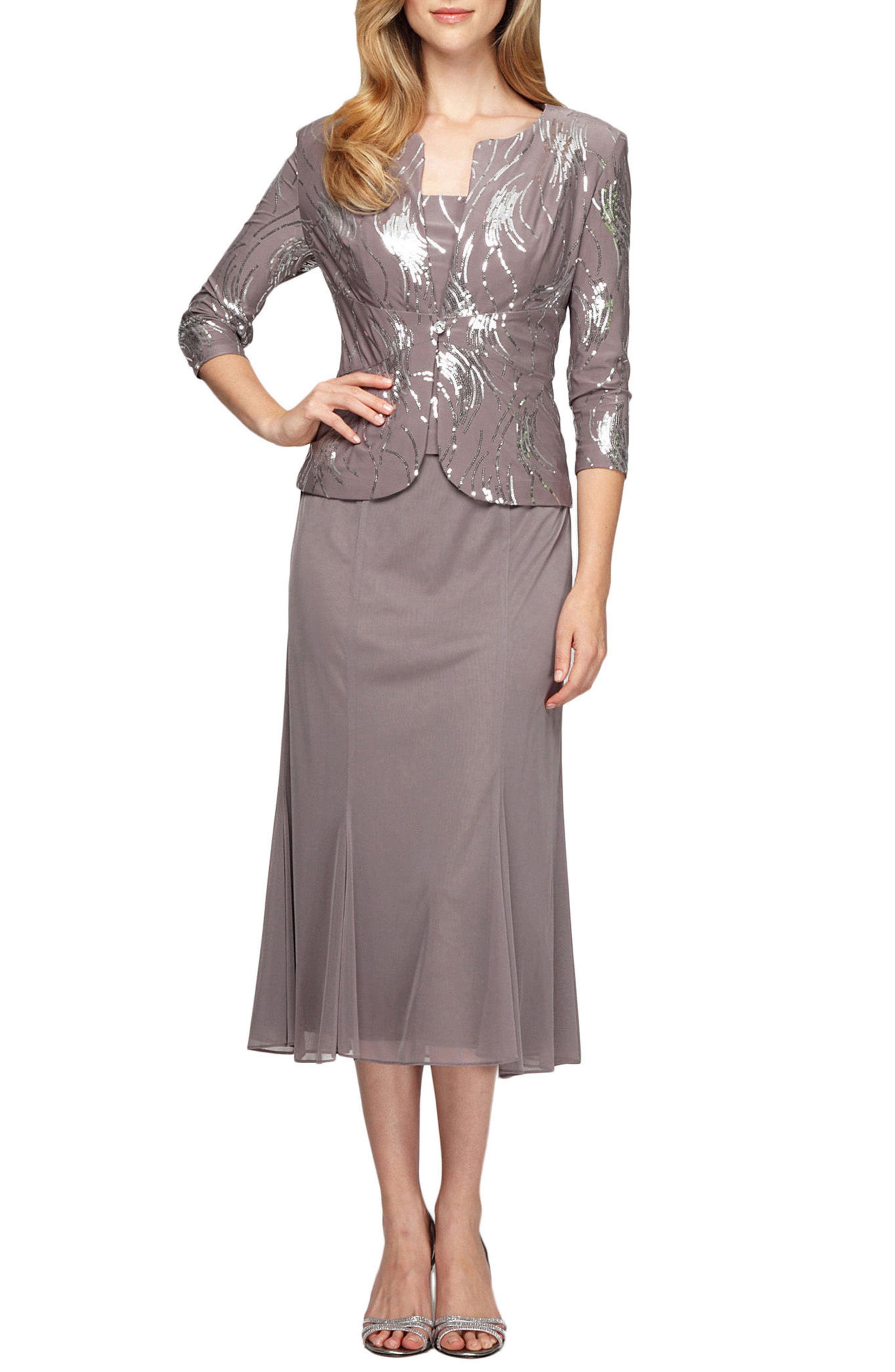 ALEX EVENINGS Midi Dress & Jacket, Main, color, PEWTER FROST