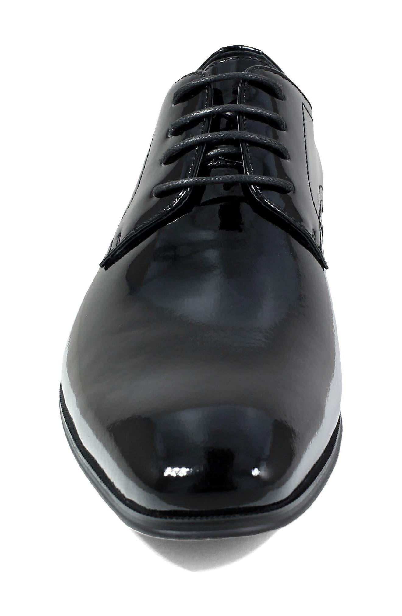 FLORSHEIM, Tux Plain Toe Derby, Alternate thumbnail 4, color, BLACK PATENT LEATHER