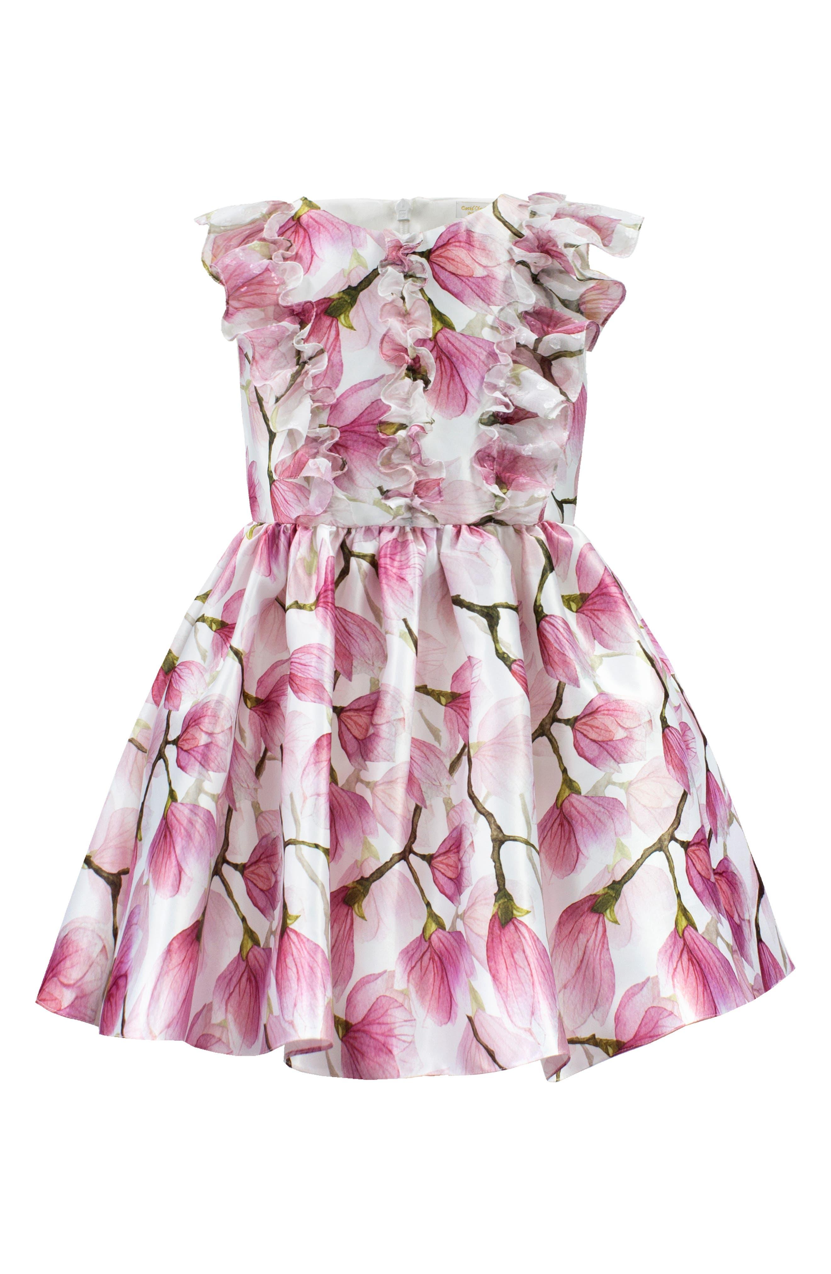DAVID CHARLES, Floral Ruffle Party Dress, Main thumbnail 1, color, PINK
