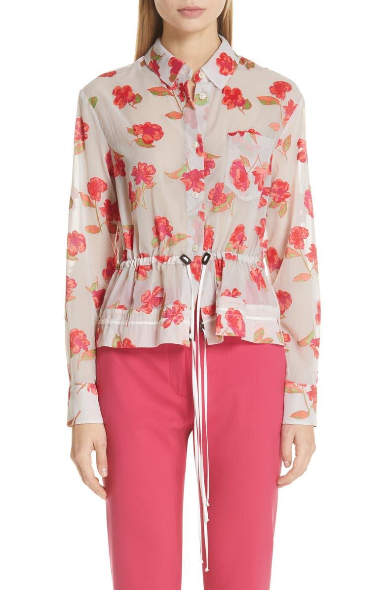 Altuzarra Jackets Floral Print Peplum Shirt Jacket