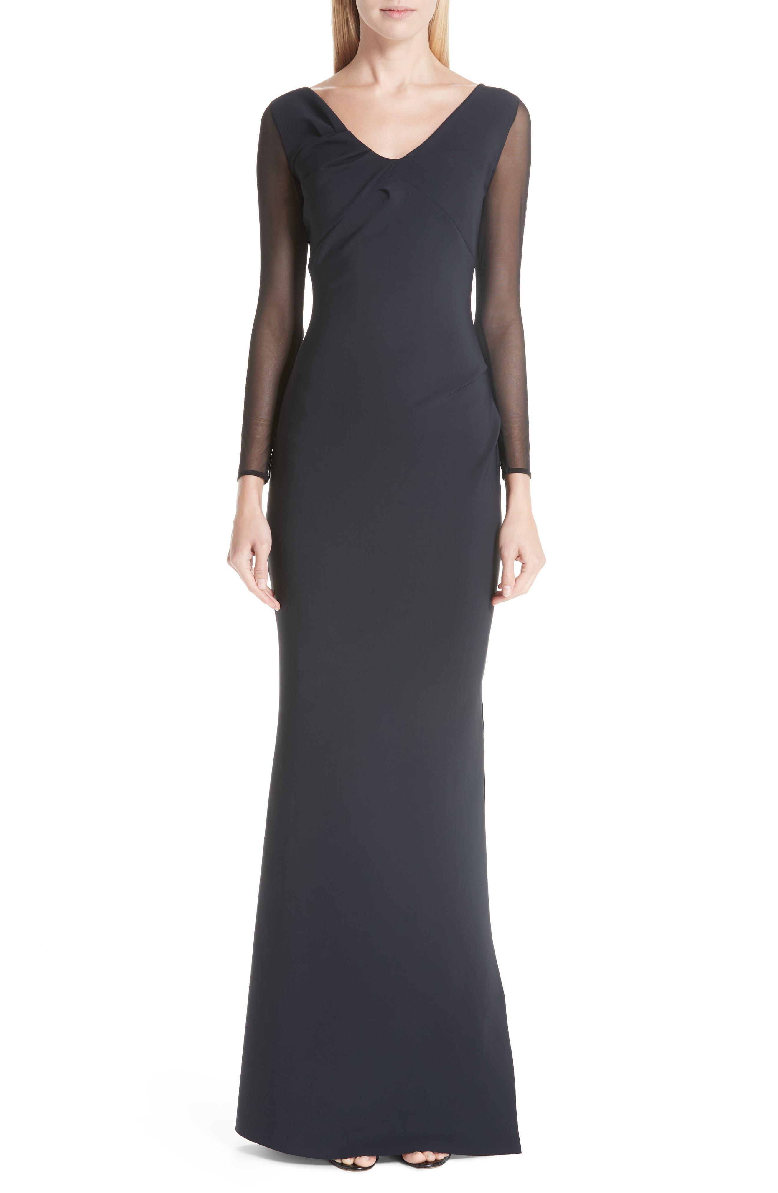 Chiara Boni La Petite Robe Bilgi Mesh Sleeve Evening Dress, 8 IT - Black